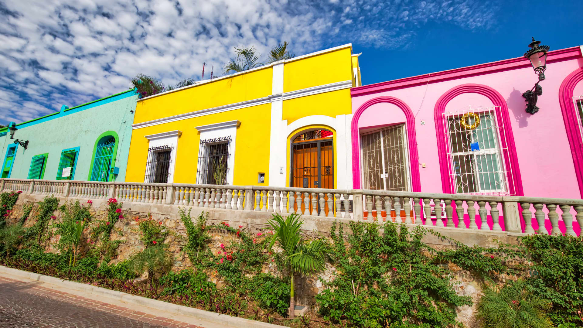 Colorful streets in historic city center of Mazatlán, Mexico