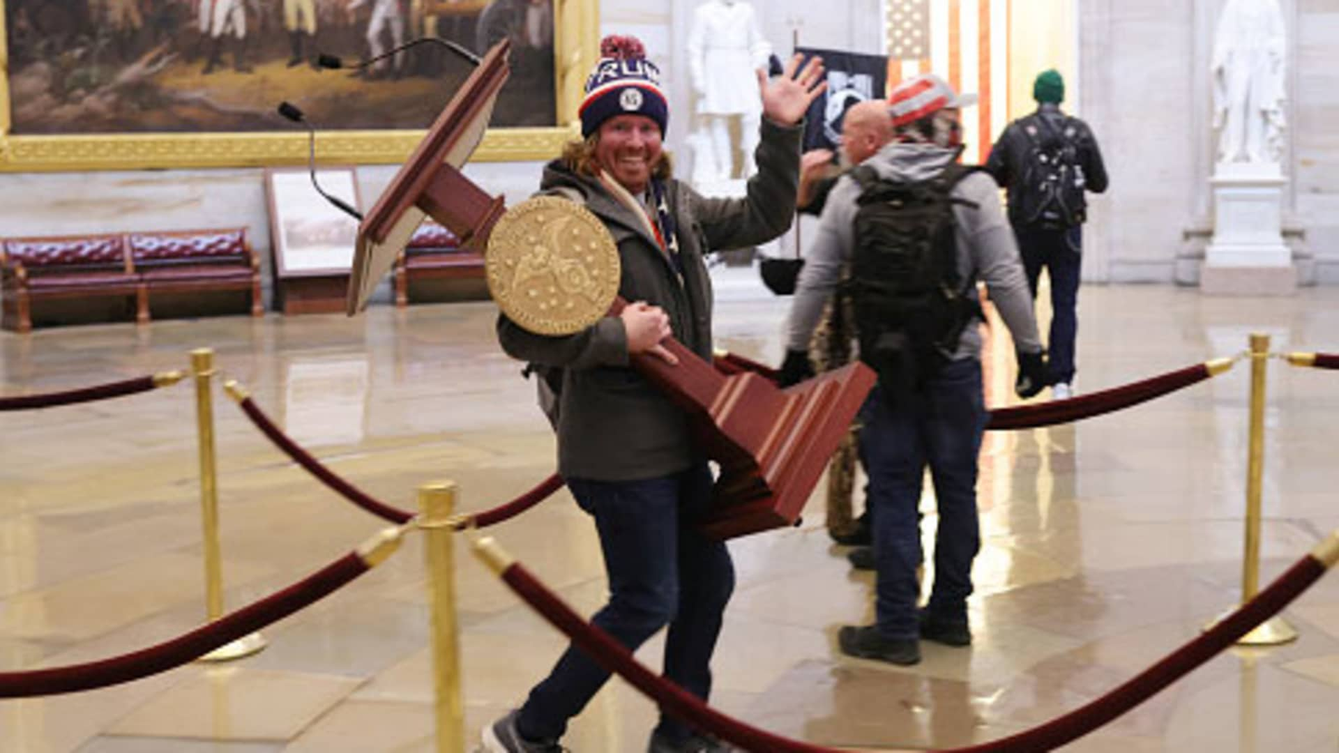 Protesters enter the U.S. Capitol Building on January 06, 2021 in Washington, DC. Congress held a joint session today to ratify President-elect Joe Biden's 306-232 Electoral College win over President Donald Trump.