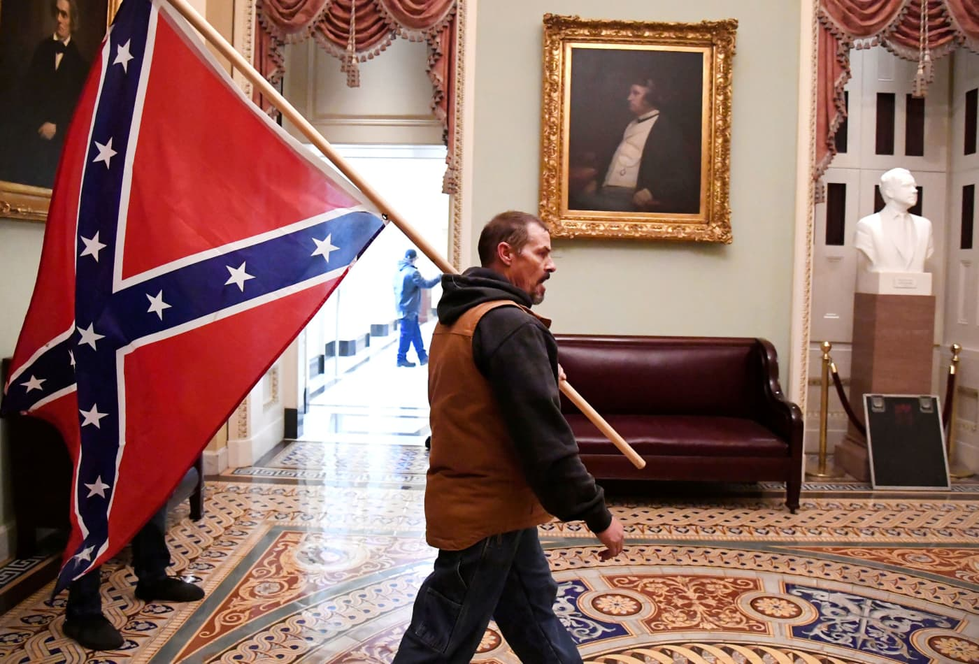 Kevin Seefried, who carried Confederate flag into the Capitol during Trump-fueled riot, arrested with son