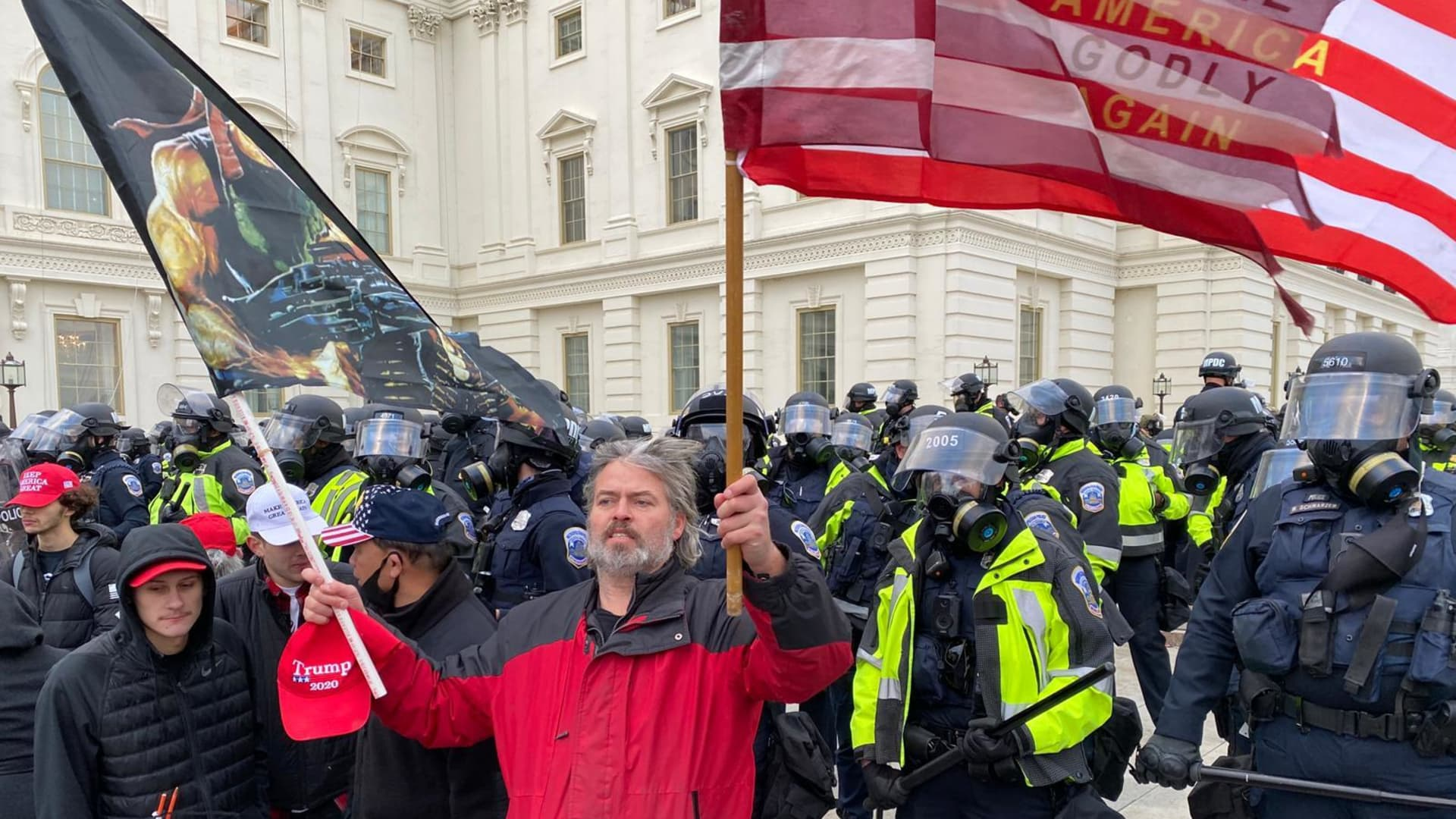 WASHINGTON D.C., USA - JANUARY 6: Security forces block the entrance after the US President Donald Trumps supporters breached the US Capitol security in Washington D.C., United States on January 06, 2021. Pro-Trump rioters stormed the US Capitol as lawmakers were set to sign off Wednesday on President-elect Joe Biden's electoral victory in what was supposed to be a routine process headed to Inauguration Day. (Photo by Tayfun Coskun/Anadolu Agency via Getty Images)