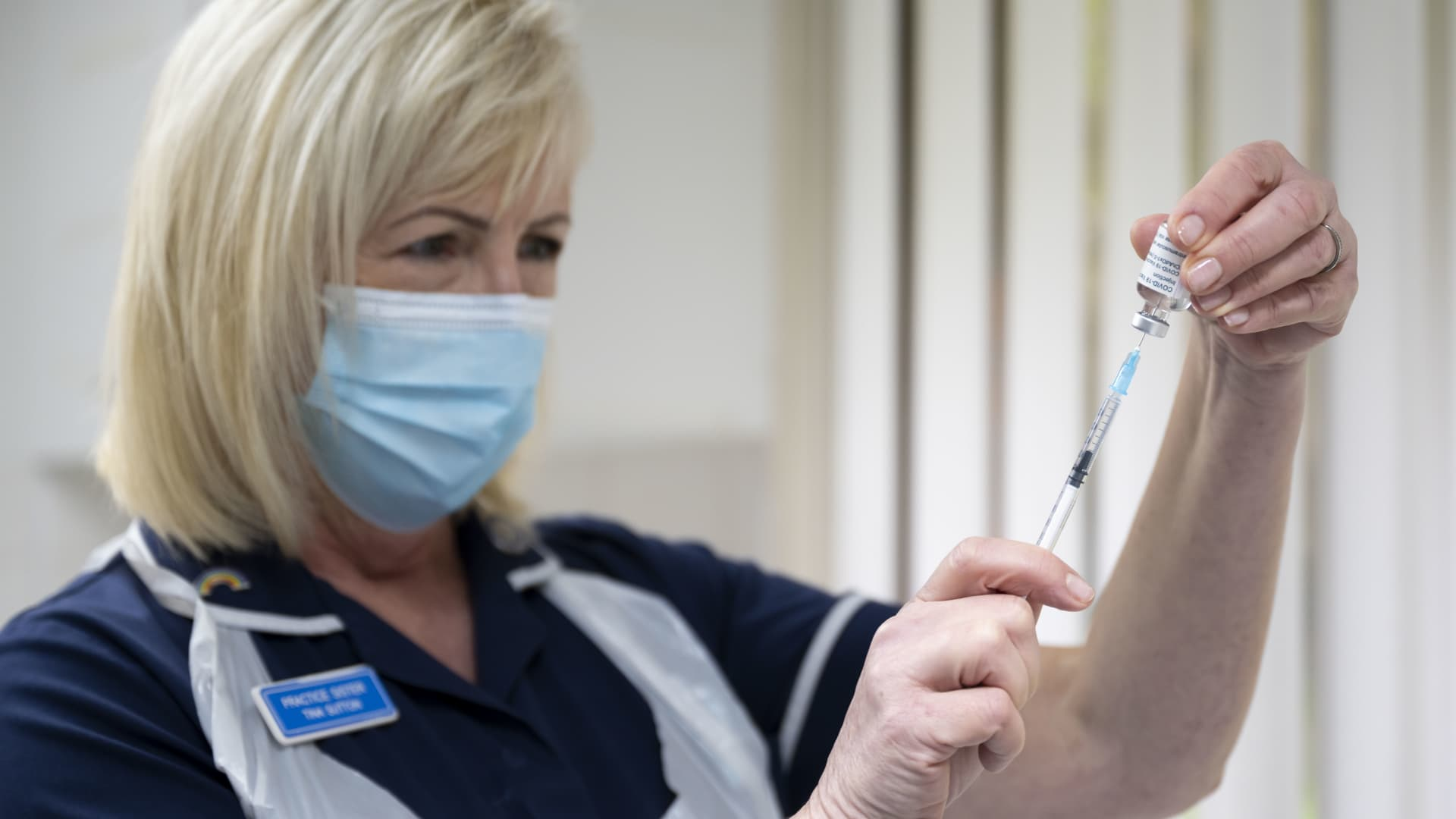 A nurse prepares the Oxford-AstraZeneca vaccine at Pontcae Medical Practice on January 4, 2021 in Merthyr Tydfil, Wales.