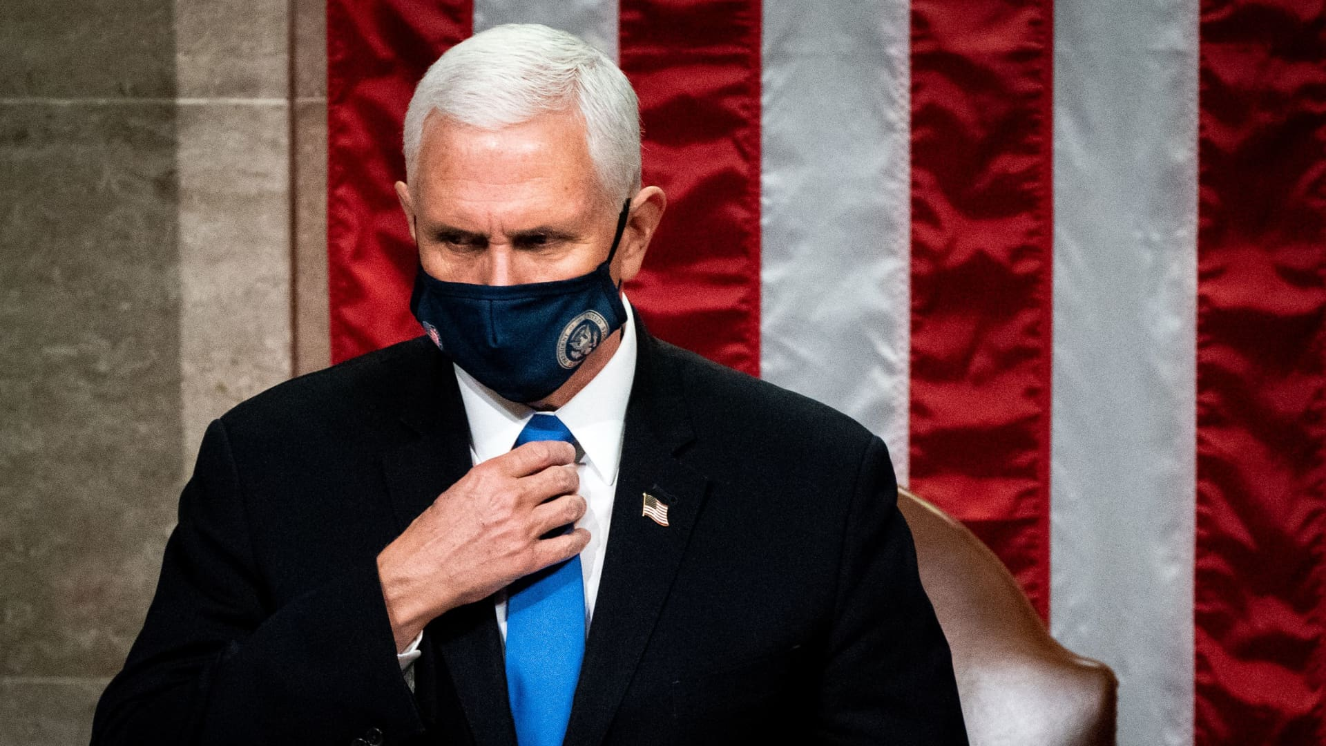 Vice President Mike Pence presides over a Joint session of Congress to certify the 2020 Electoral College results after supporters of President Donald Trump stormed the Capitol earlier in the day on Capitol Hill in Washington, DC on January 6, 2020.