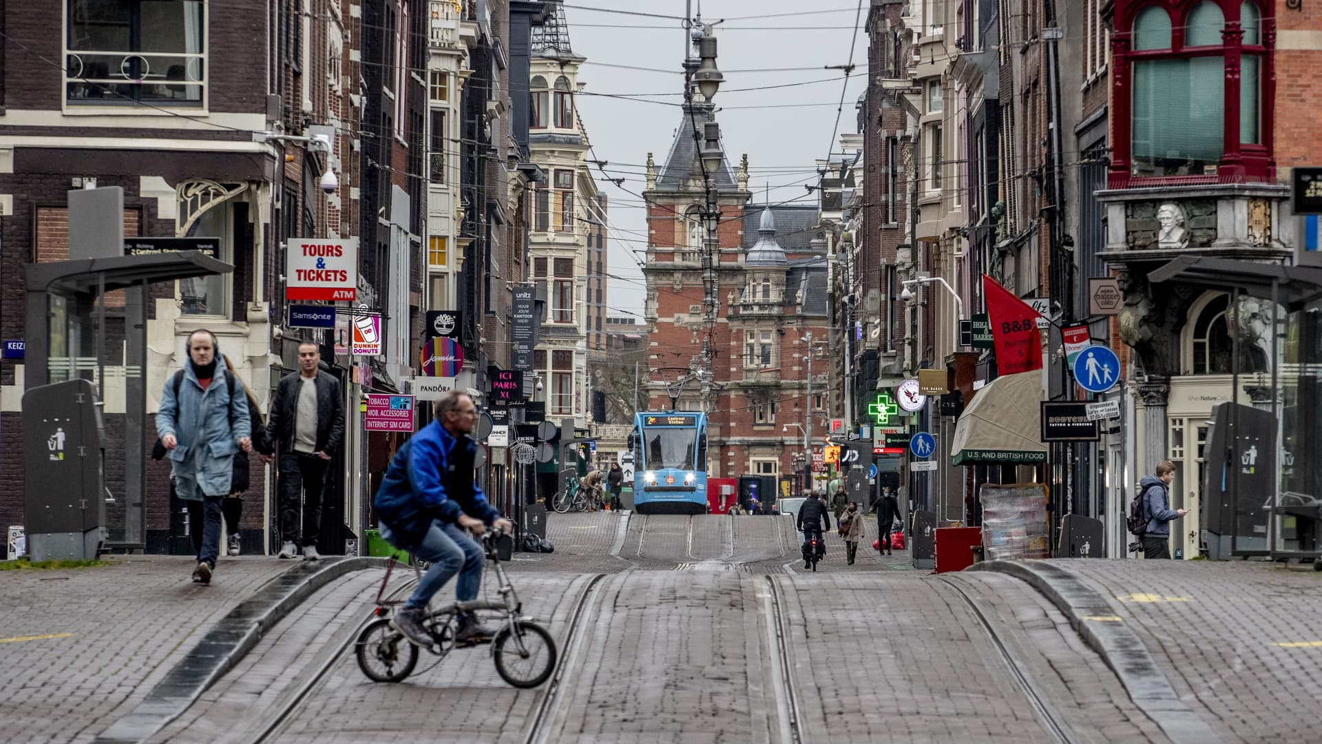 View of an almost deserted city center on December 15, 2020 in Amsterdam, Netherlands.