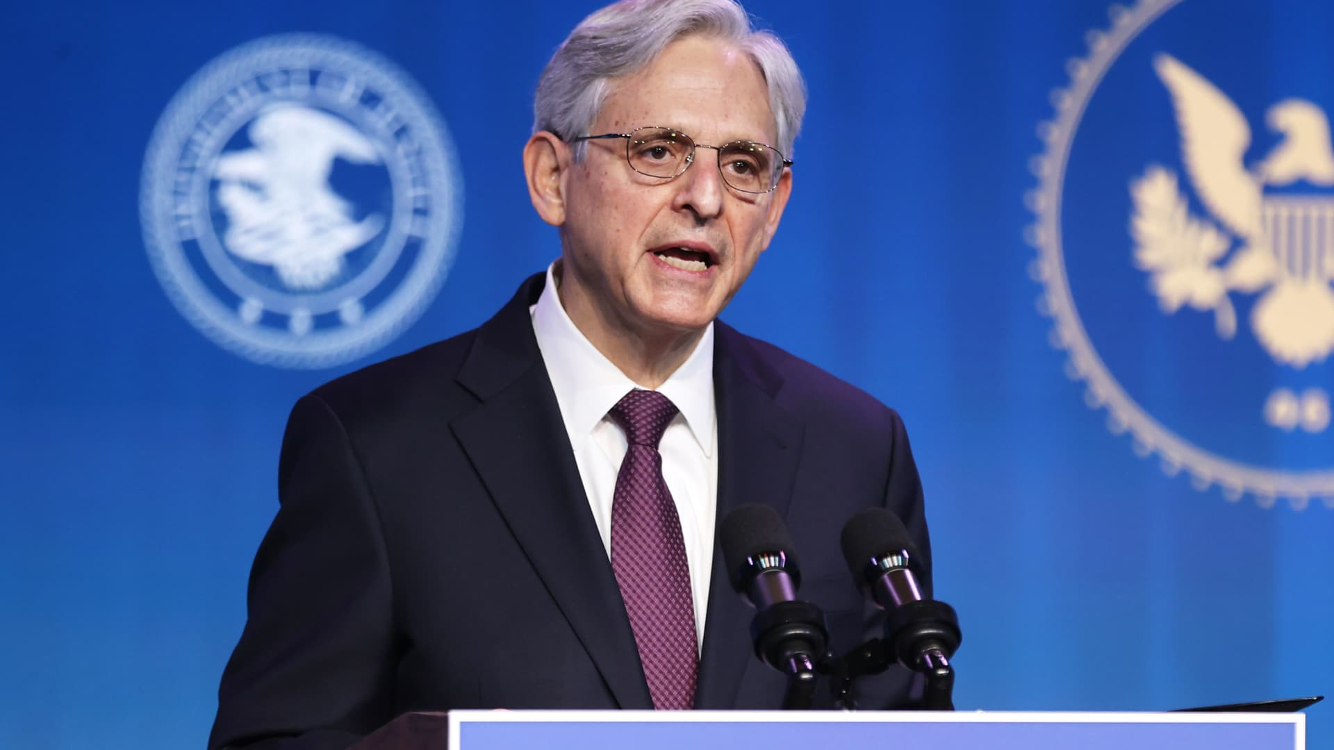 Federal Judge Merrick Garland delivers remarks after being nominated to be U.S. attorney general by President-elect Joe Biden at The Queen theater January 07, 2021 in Wilmington, Delaware.