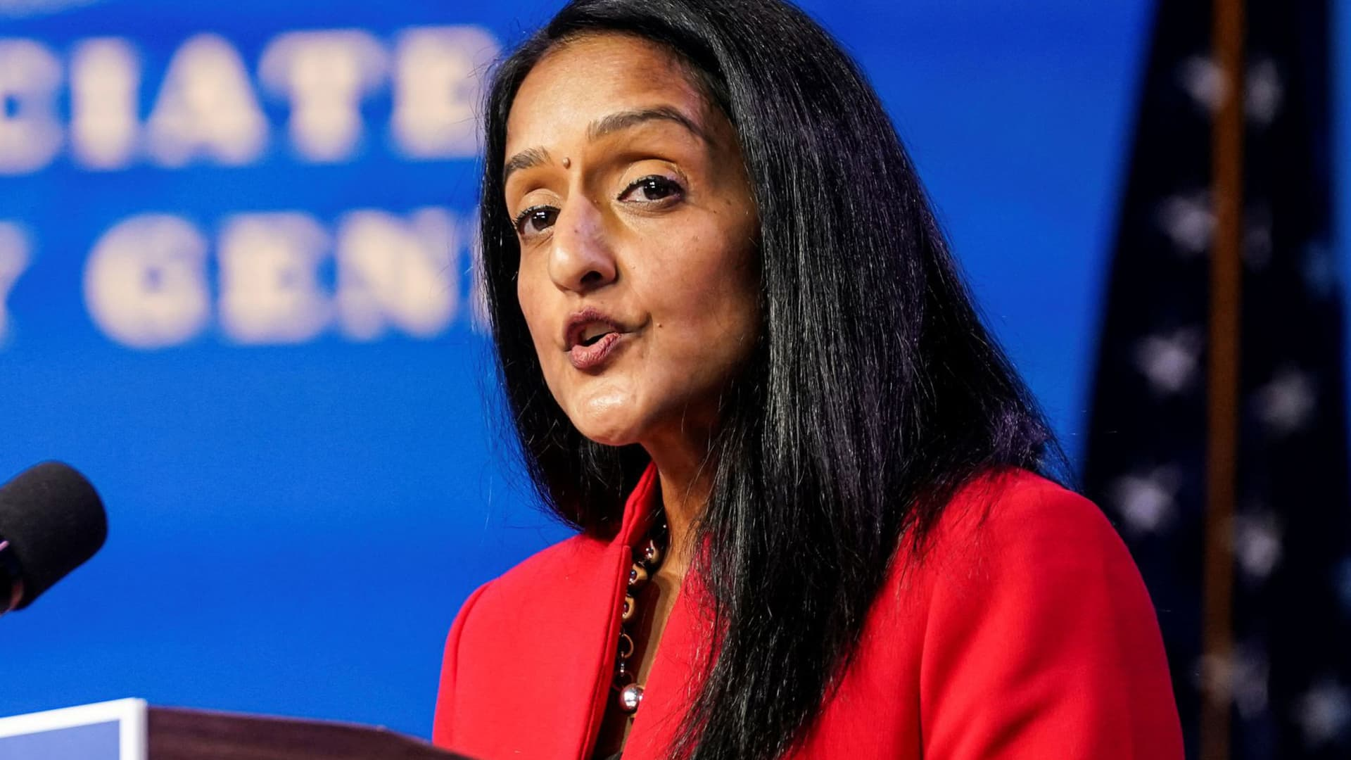 Vanita Gupta, U.S. President-elect Joe Biden's nominee to be associate attorney general, speaks as Biden announces his Justice Department nominees at his transition headquarters in Wilmington, Delaware, January 7, 2021.