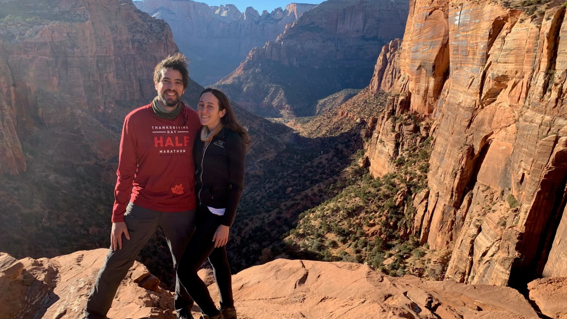 Eryn Schultz and her husband on their honeymoon in Zion National Park.