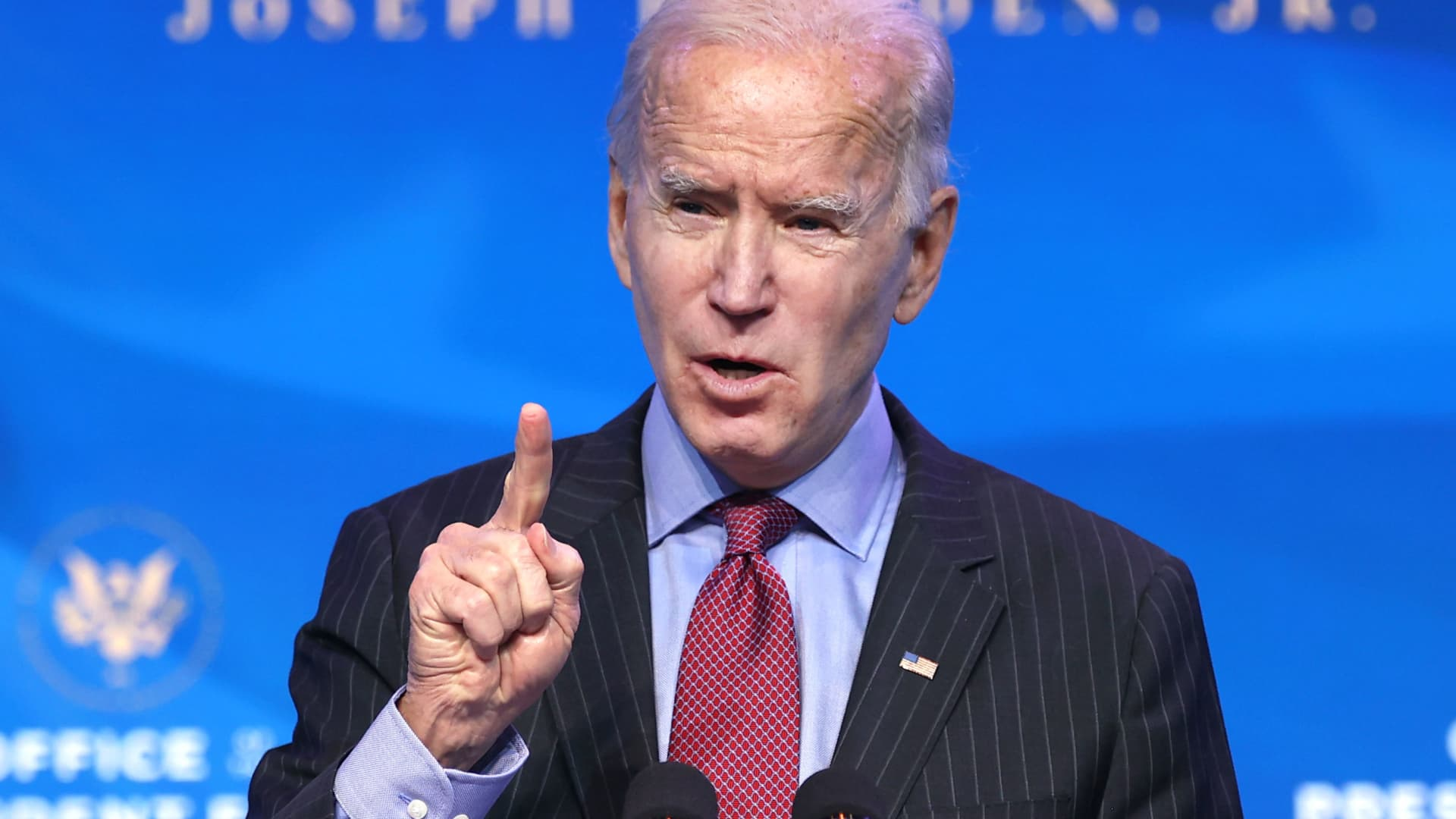U.S. President-elect Joe Biden delivers remarks after he announced cabinet nominees that will round out his economic team, including secretaries of commerce and labor, at The Queen theater on January 08, 2021 in Wilmington, Delaware.