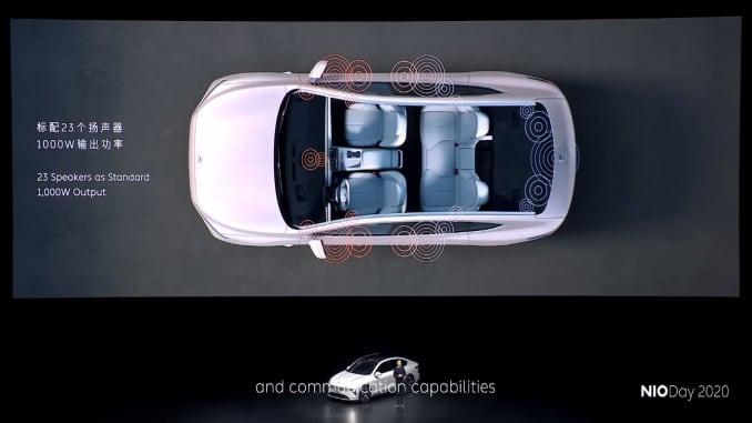 Theo công ty, chiếc sedan et7 của Nio có mái che bằng kính nhiều lớp, ghế sưởi ở cả hai hàng và 23 loa.