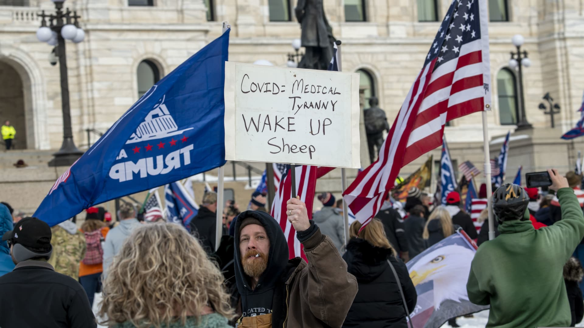 Donald Trump supporters gathered to protest against the certification of Joe Biden as the winner of the presidential election, State capitol, St. Paul, Minnesota.