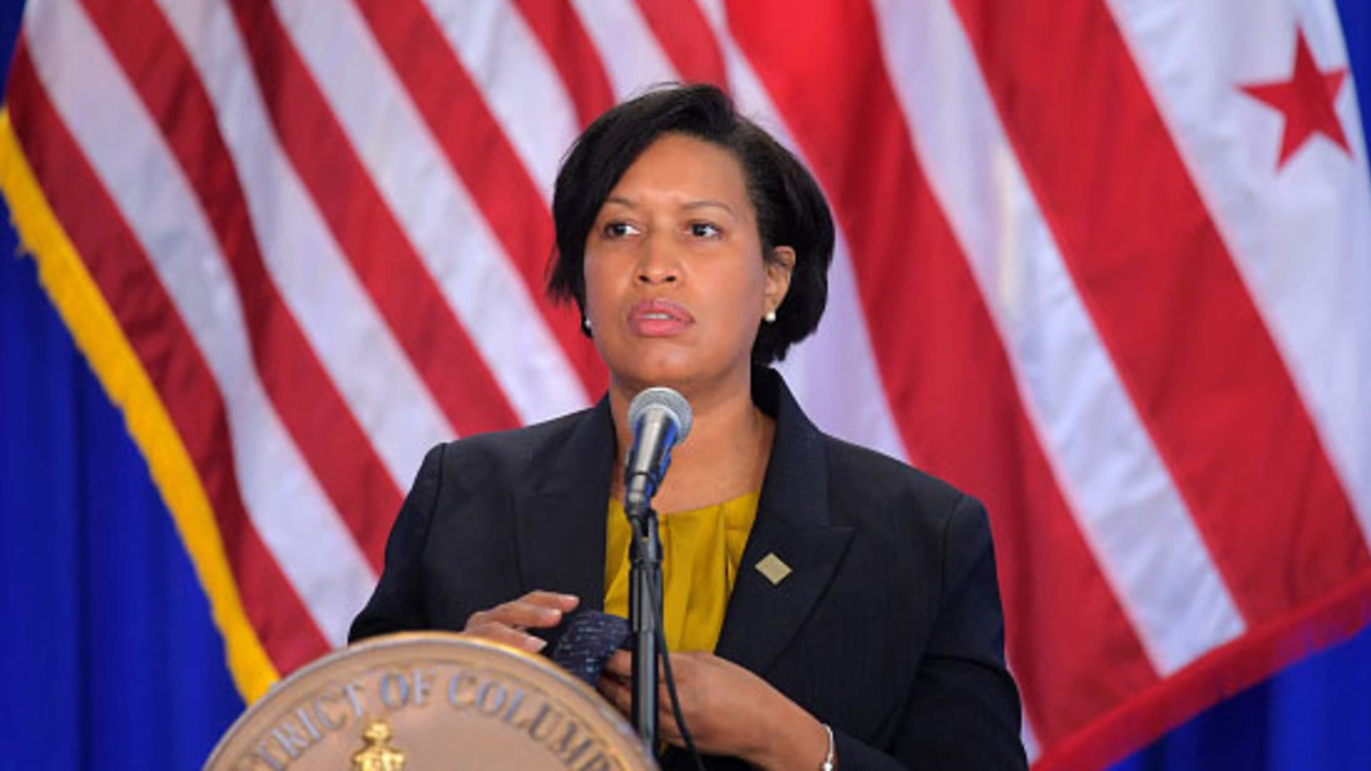 Washington DC Mayor Muriel Bowser speaks at press conference addressing how the city is responding to breaching of the U.S. Capitol on the day before in Washington, DC on January 7, 2020.