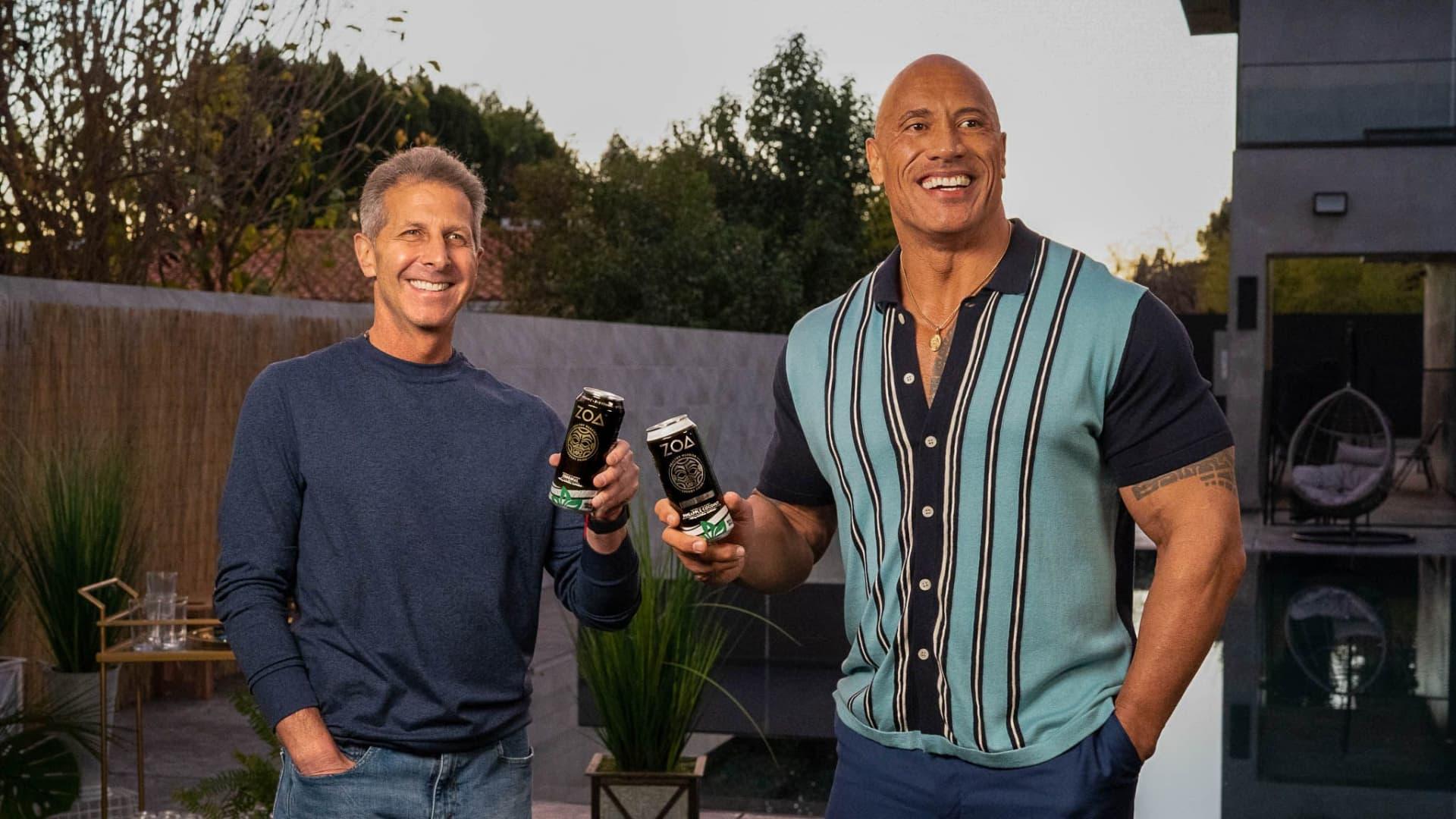 ZOA Energy co-founders John Shulman (left) and Dwayne Johnson (right)