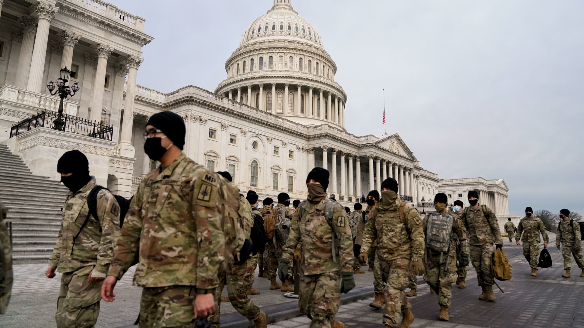 Members of the National Guard arrive to the U.S. Capitol days after supporters of U.S. President Donald Trump stormed the Capitol in Washington, U.S. January 11, 2021.