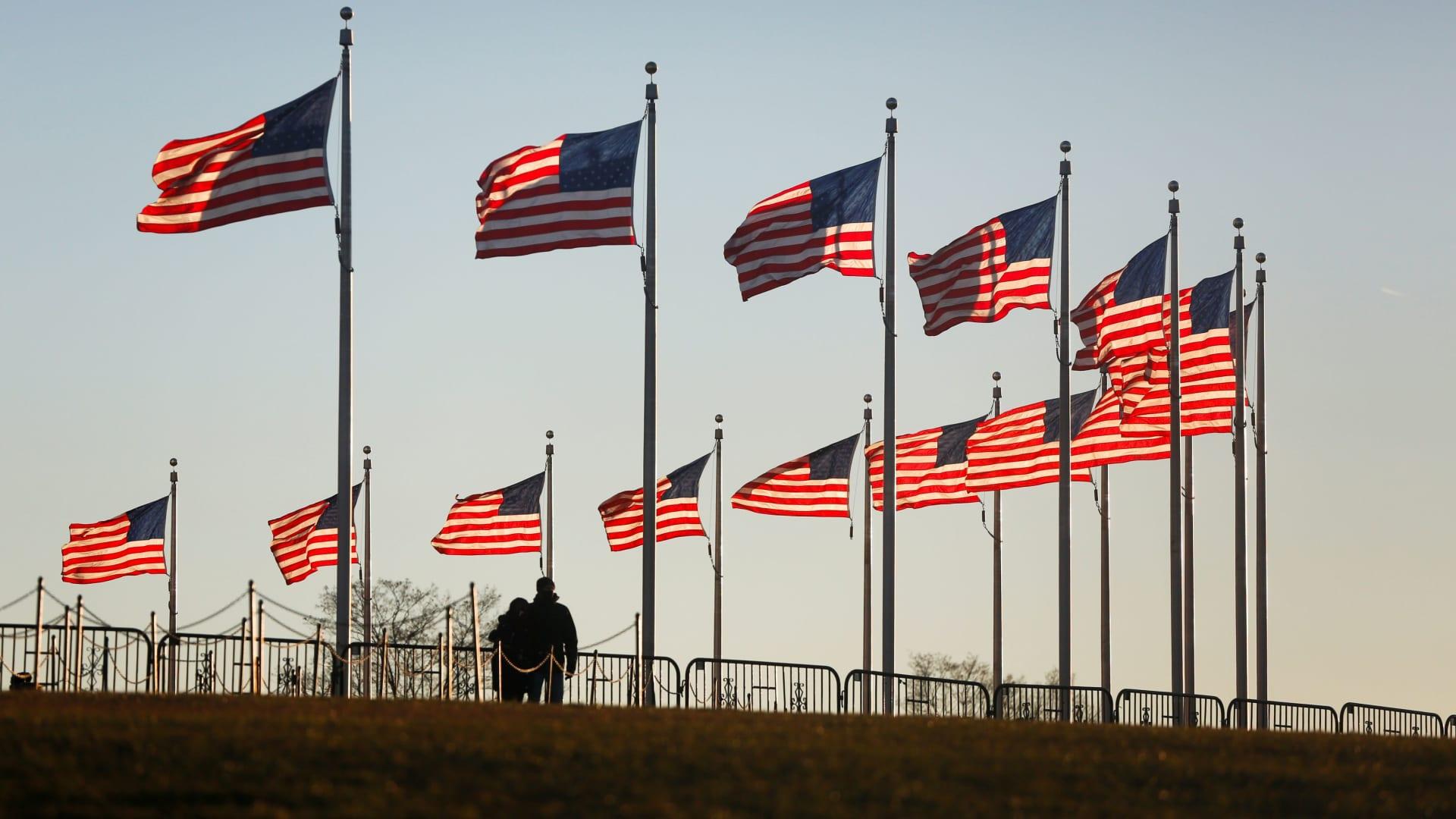 The Washington Monument plaza, three days the Jan. 6, 2021, riot at the U.S. Capitol.