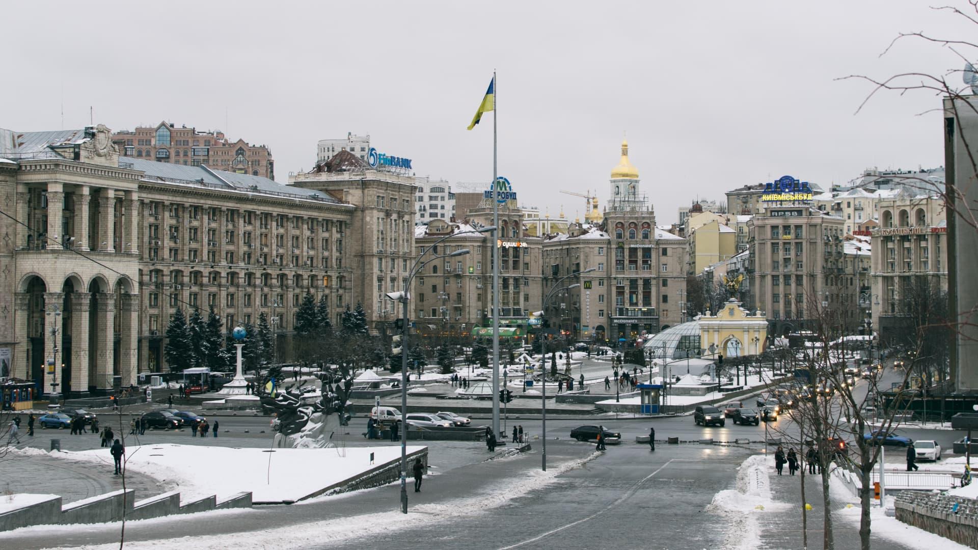 Central square in Kiev, Ukraine