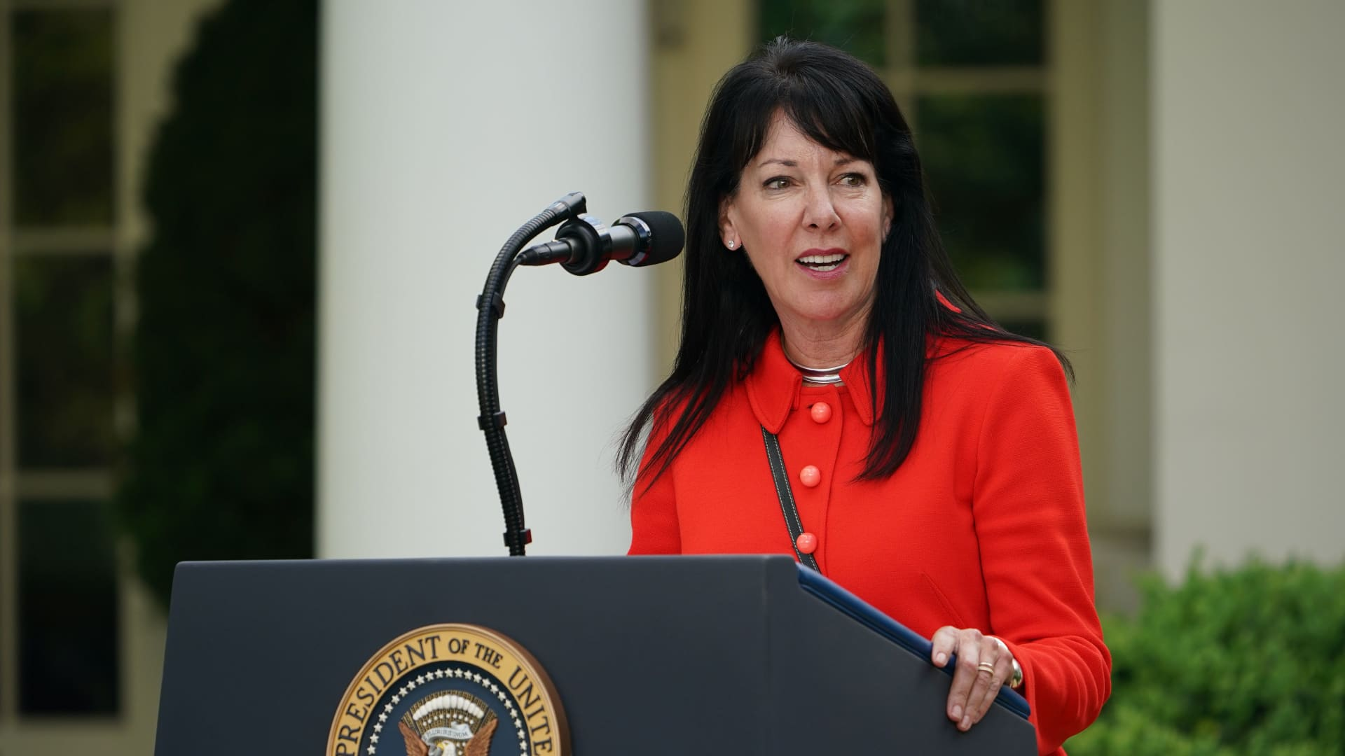 Rite Aid CEO, Heyward Donigan speaks during a news conference with US President Donald Trump on the novel coronavirus, COVID-19, in the Rose Garden of the White House in Washington, DC on April 27, 2020.