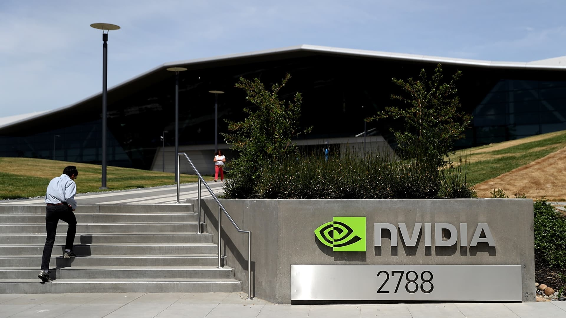 A sign is posted in front of the NVIDIA headquarters on May 10, 2018 in Santa Clara, California.