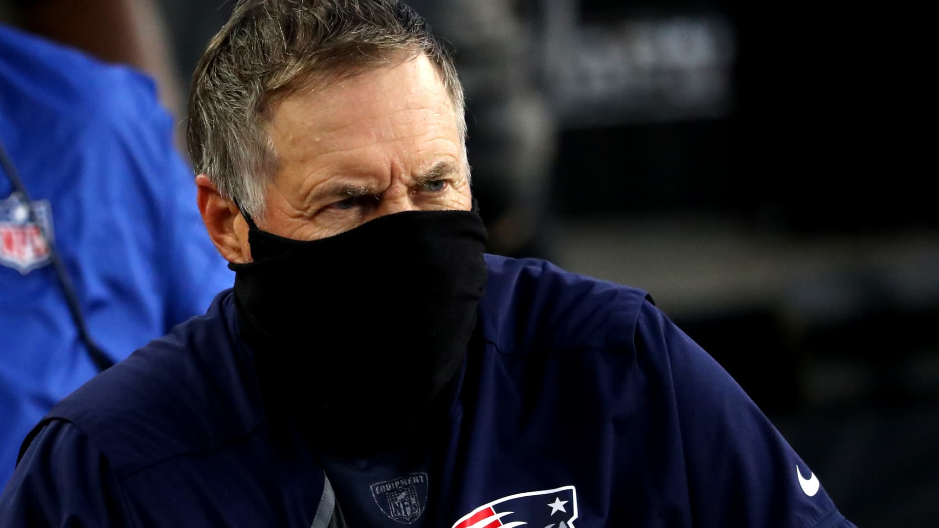 FOXBOROUGH, MASSACHUSETTS - OCTOBER 25: Head coach Bill Belichick of the New England Patriots looks on during the game against the San Francisco 49ersat Gillette Stadium on October 25, 2020 in Foxborough, Massachusetts. (Photo by Maddie Meyer/Getty Images)