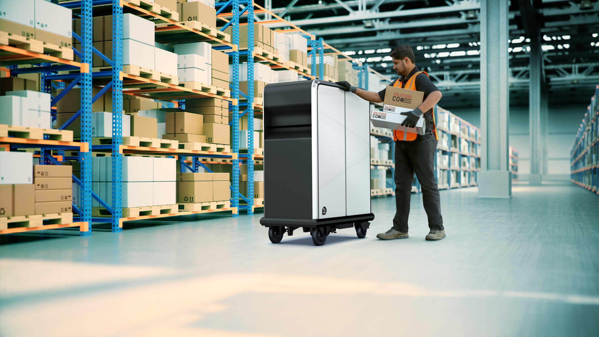 The first product from GM's BrightDrop will be the EP1, will be a propulsion-assisted, electric pallet developed to easily move goods over short distances – for example, from the delivery vehicle to the customer's front door.