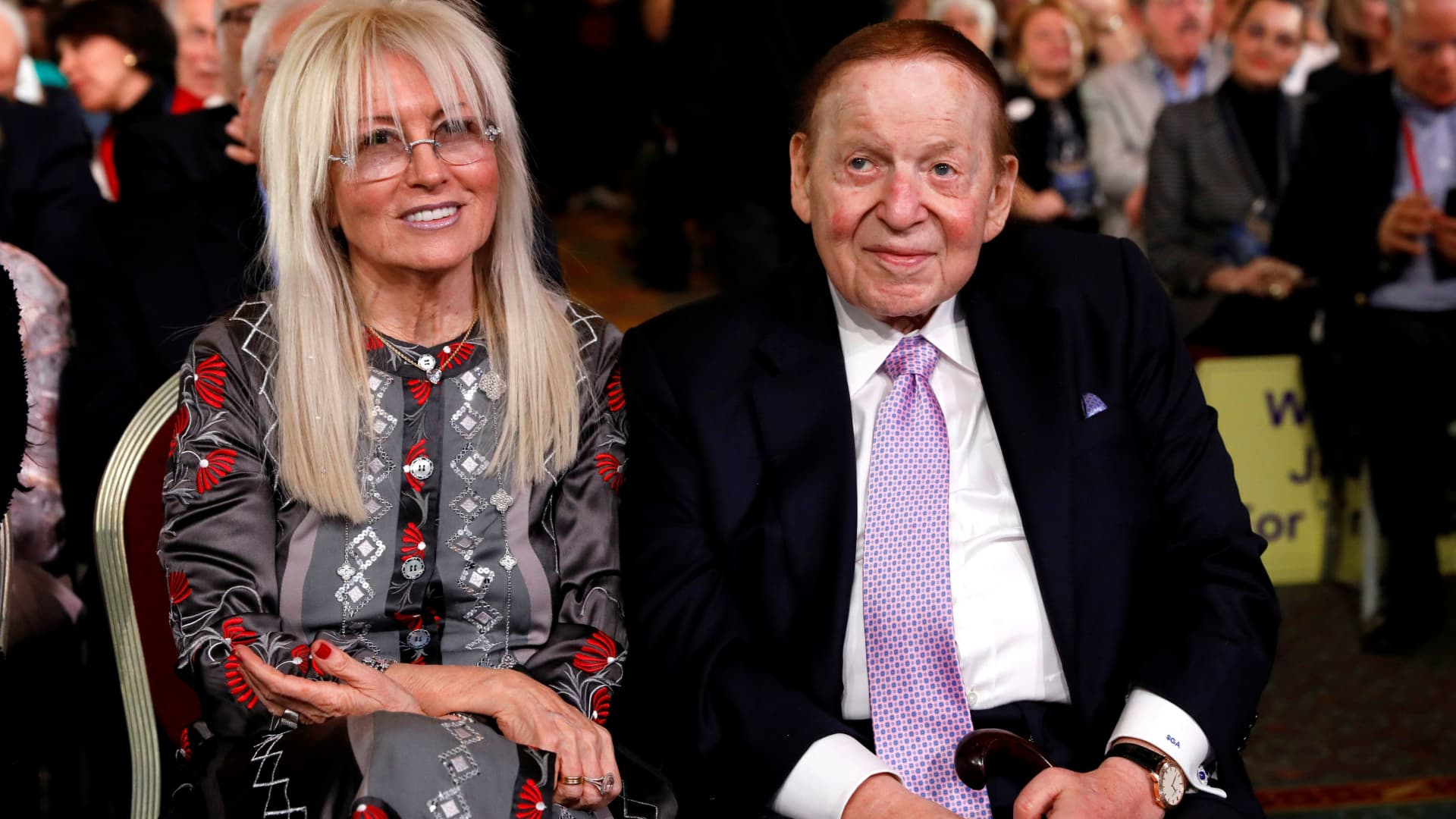 Casino magnate Sheldon Adelson and his wife Miriam listen to U.S. President Donald Trump address the Republican Jewish Coalition 2019 Annual Leadership Meeting in Las Vegas, Nevada, U.S., April 6, 2019.