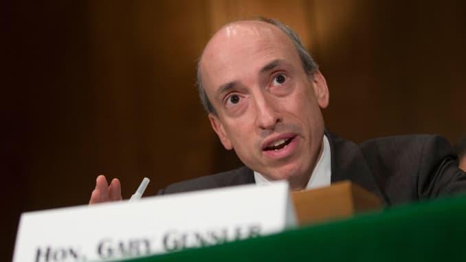 Gary Gensler, Chủ tịch Ủy ban Giao dịch Hàng hóa Tương lai (CFTC), phát biểu trong phiên điều trần của Ủy ban Ngân hàng Thượng viện tại Washington, DC, Hoa Kỳ, vào thứ Ba, 30/7/2013.
