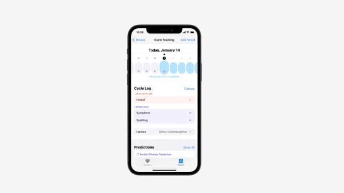 Cycle tracking on iPhone Theo dõi chu kỳ