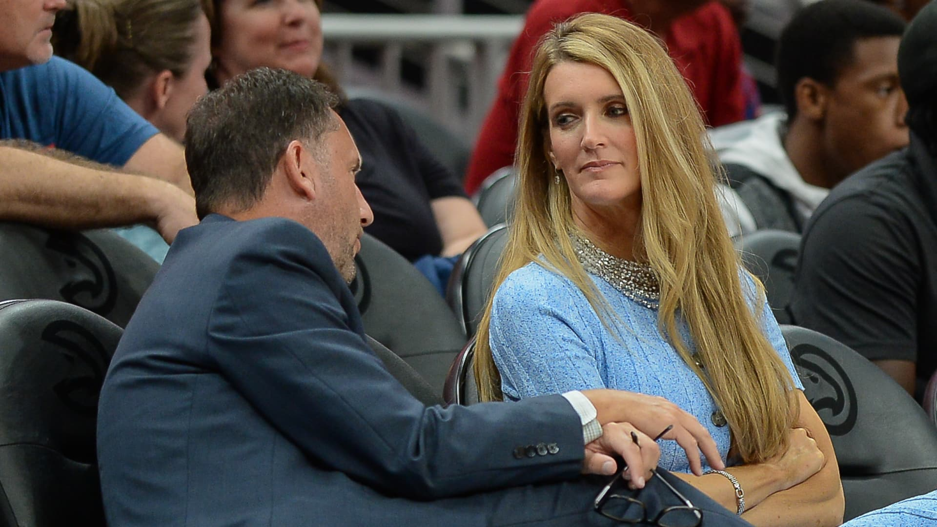 Atlanta owner Kelly Loeffler (right) talks with Dream General Manager Chris Sienko (left) during the WNBA game between the Las Vegas Aces and the Atlanta Dream on September 5th, 2019 at State Farm Arena in Atlanta, GA.