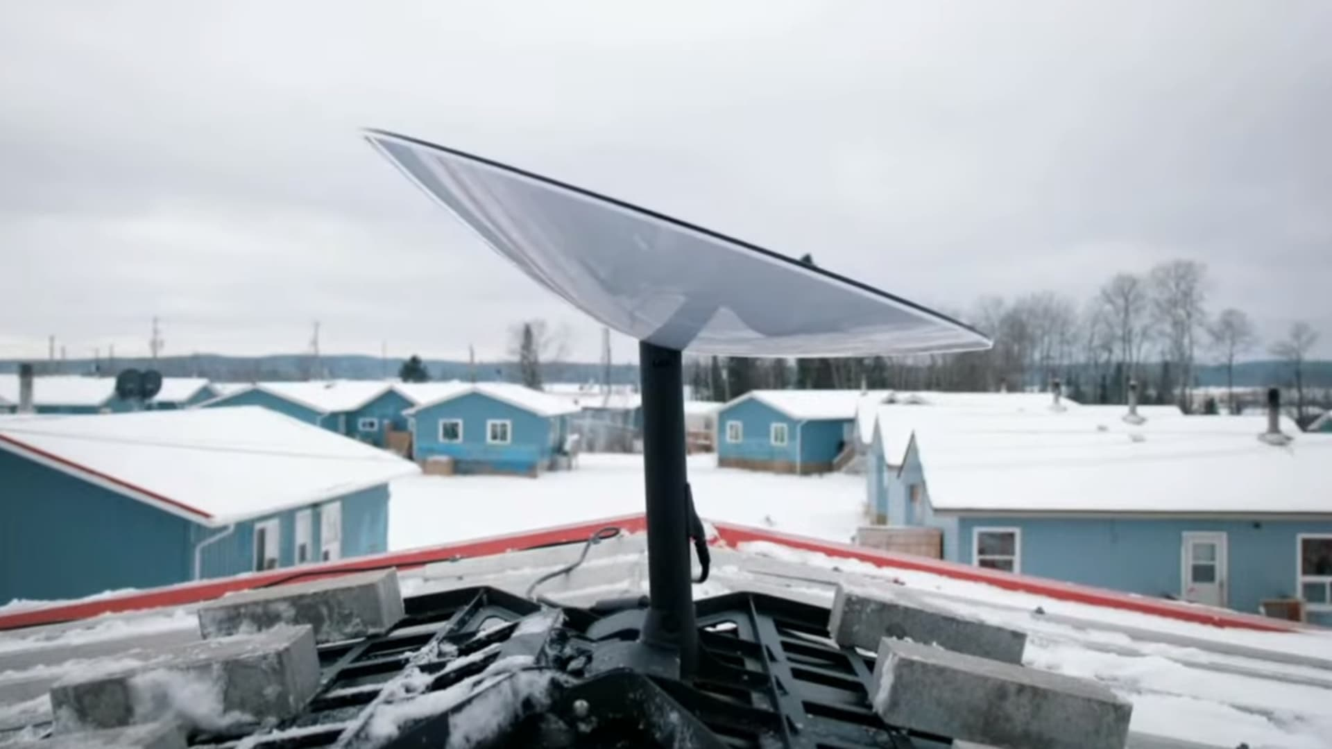 A Starlink user terminal installed on the roof of a building in Canada.