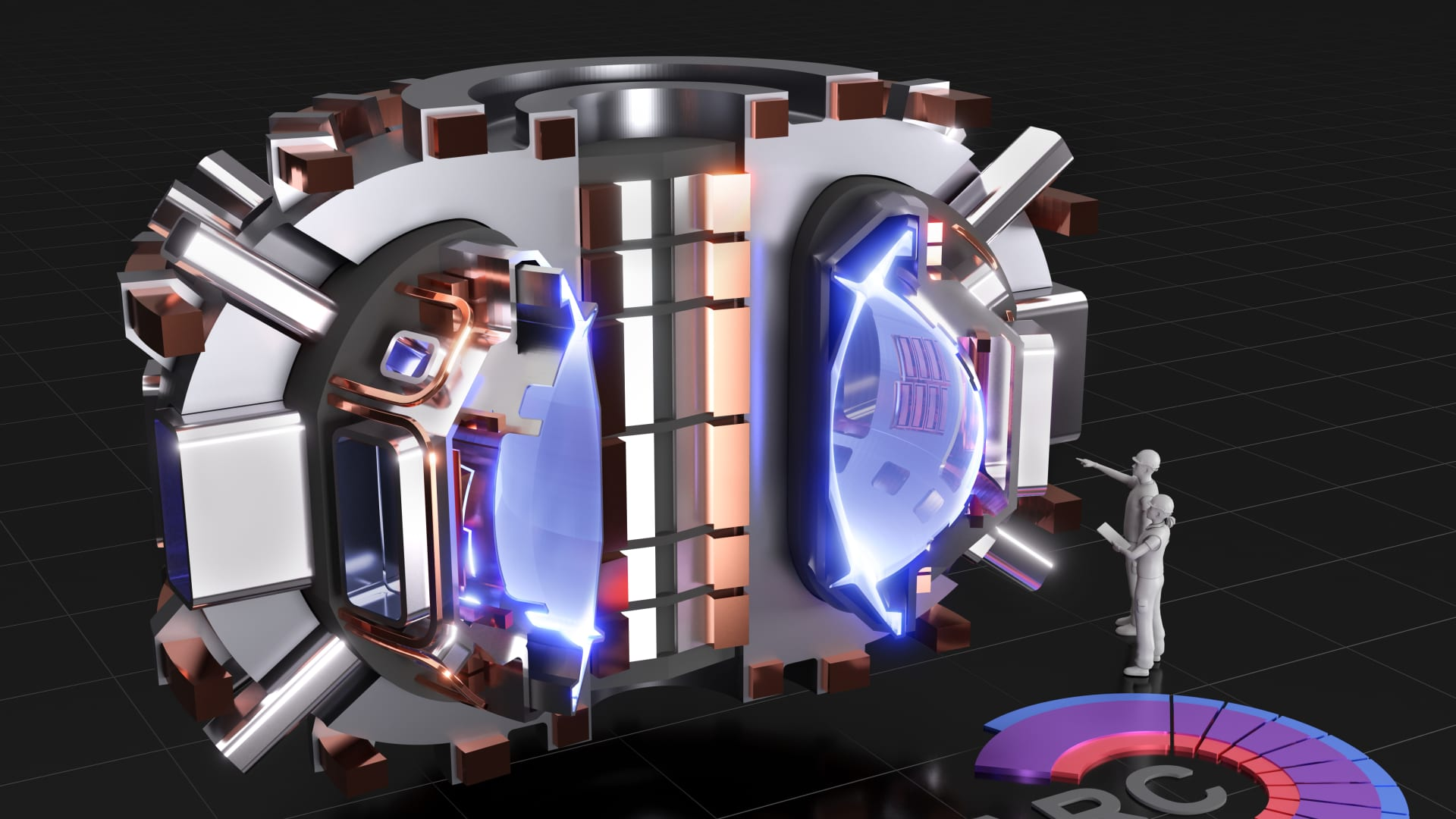 This is a rendering of the SPARC, a tokamak machine currently being designed by the team from the Massachusetts Institute of Technology and Commonwealth Fusion Systems, which aims to create and confine a plasma to create energy with fusion.