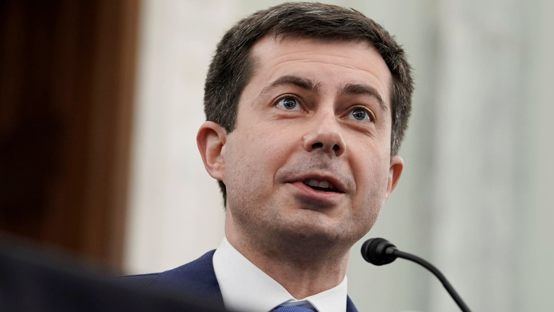 Pete Buttigieg speaks at the Senate Commerce, Science, and Transportation nomination hearings to examine his expected nomination to be Secretary of Transportation in Washington.