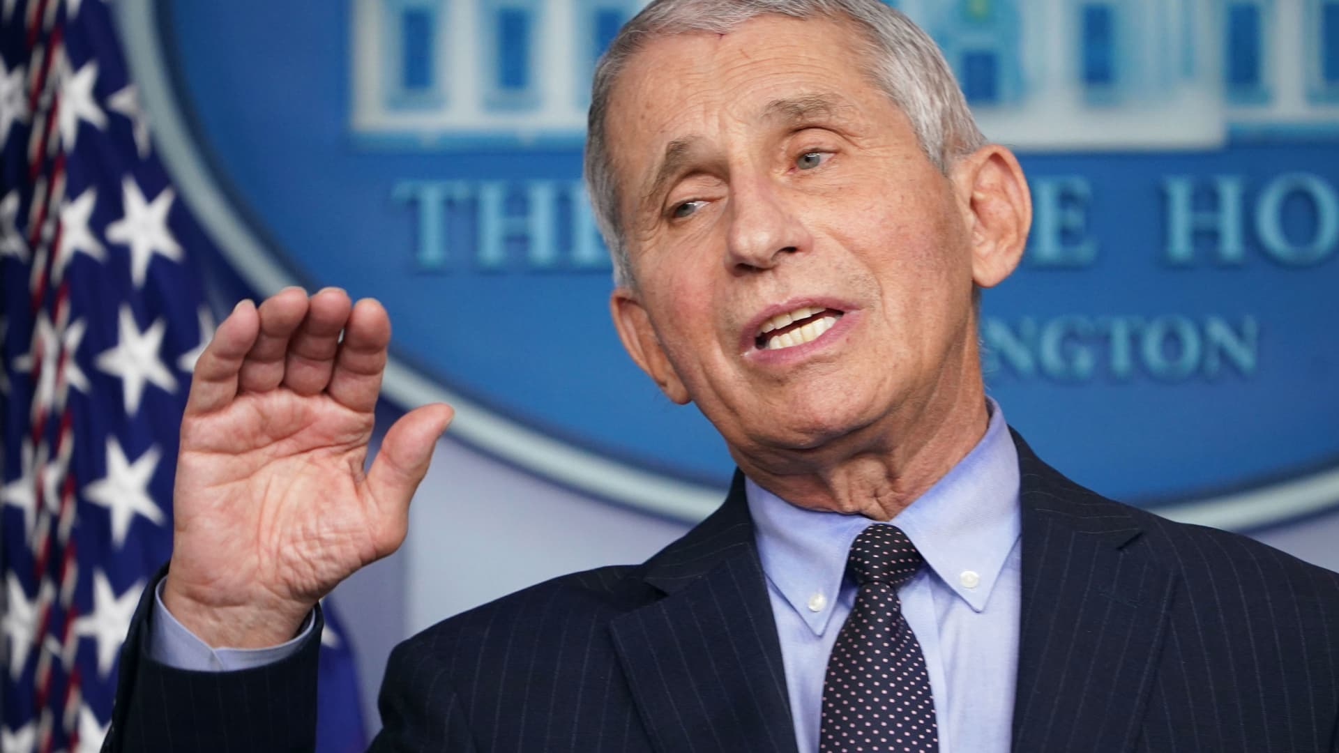 Director of the National Institute of Allergy and Infectious Diseases Anthony Fauci speaks during the daily briefing in the Brady Briefing Room of the White House in Washington, on January 21, 2021.