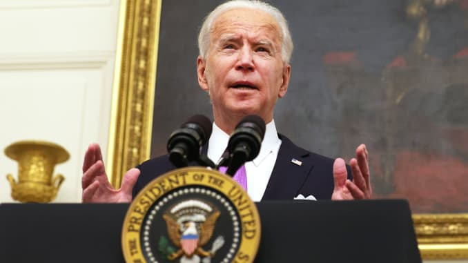 President Joe Biden speaks during an event at the State Dining Room of the White House January 21, 2021 in Washington, DC.