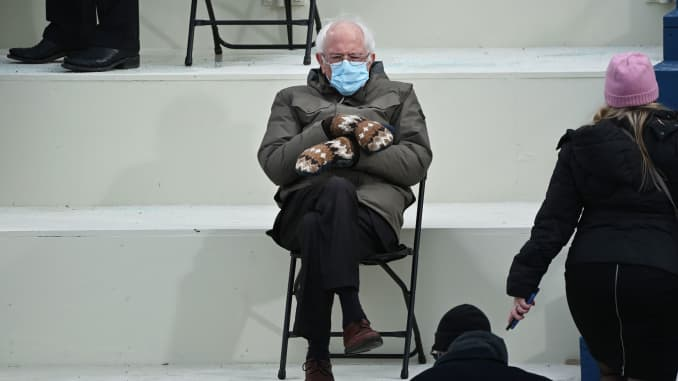 Former presidential candidate, Senator Bernie Sanders (D-Vermont) sits in the bleachers on Capitol Hill before Joe Biden is sworn in as the 46th US President on January 20, 2021, at the US Capitol in Washington, DC.