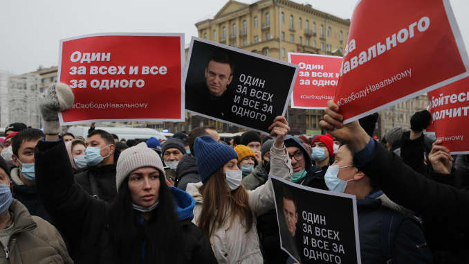 Participants of an unauthorized protest rally against of jailing of oppositon leader Alexei Navalny shout, on January 23, 2021 in Moscow, Russia. E