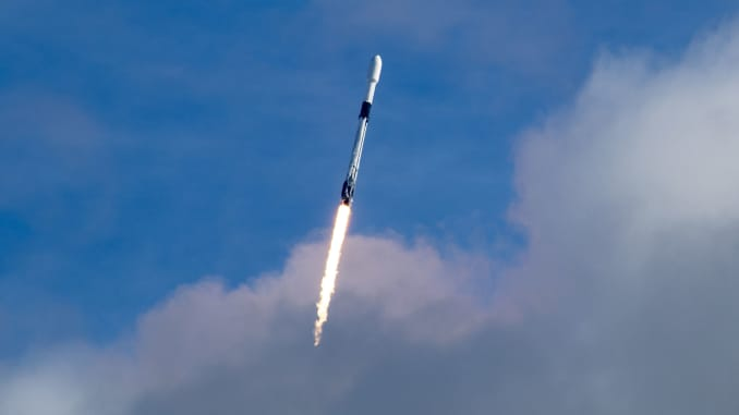 A Falcon 9 rocket launches the Transporter-1 mission in January 2021.