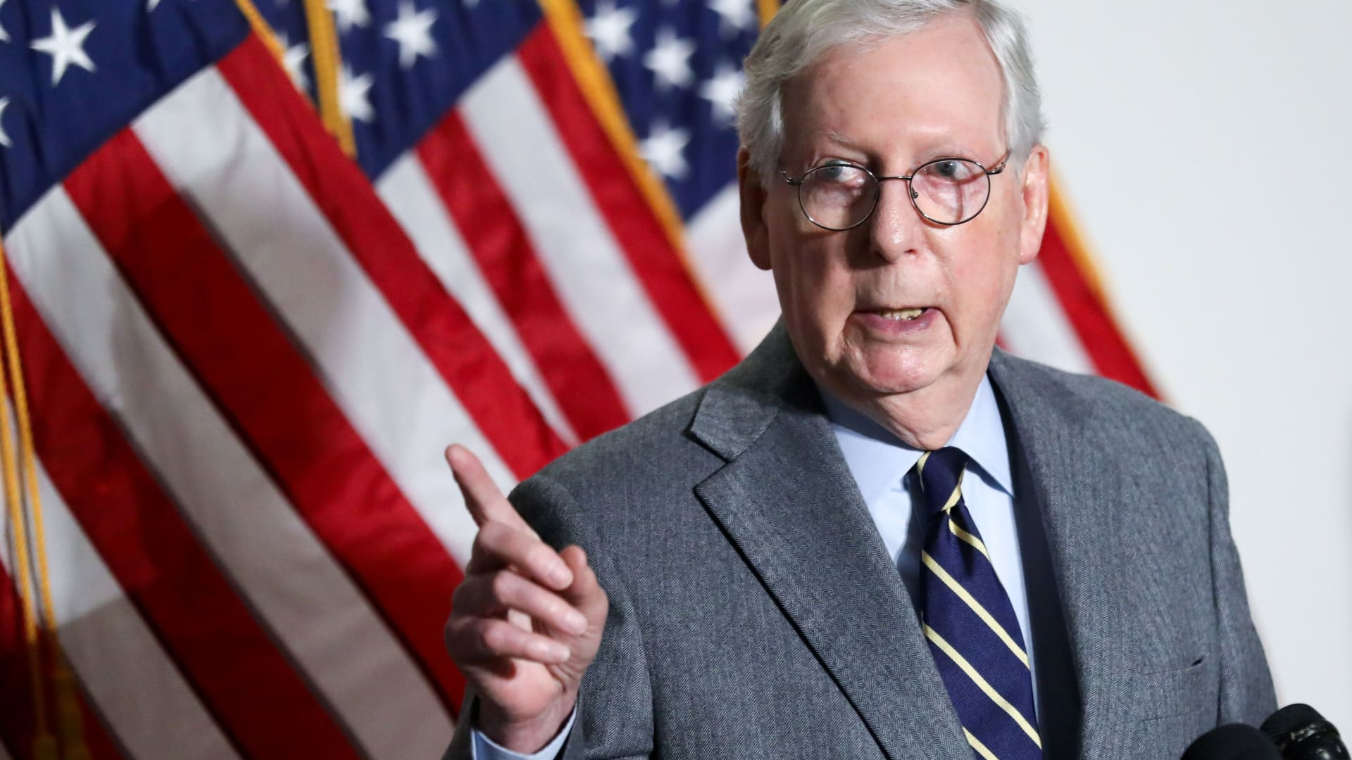 U.S. Senate Minority Leader Mitch McConnell (R-KY) speaks to reporters after the weekly Republican caucus policy luncheon on Capitol Hill in Washington, January 26, 2021.
