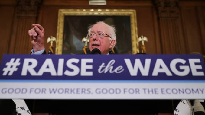 Sen. Bernie Sanders, I-Vt., speaks during an event to introduce the Raise The Wage Act at the U.S. Capitol on Jan. 16, 2019.