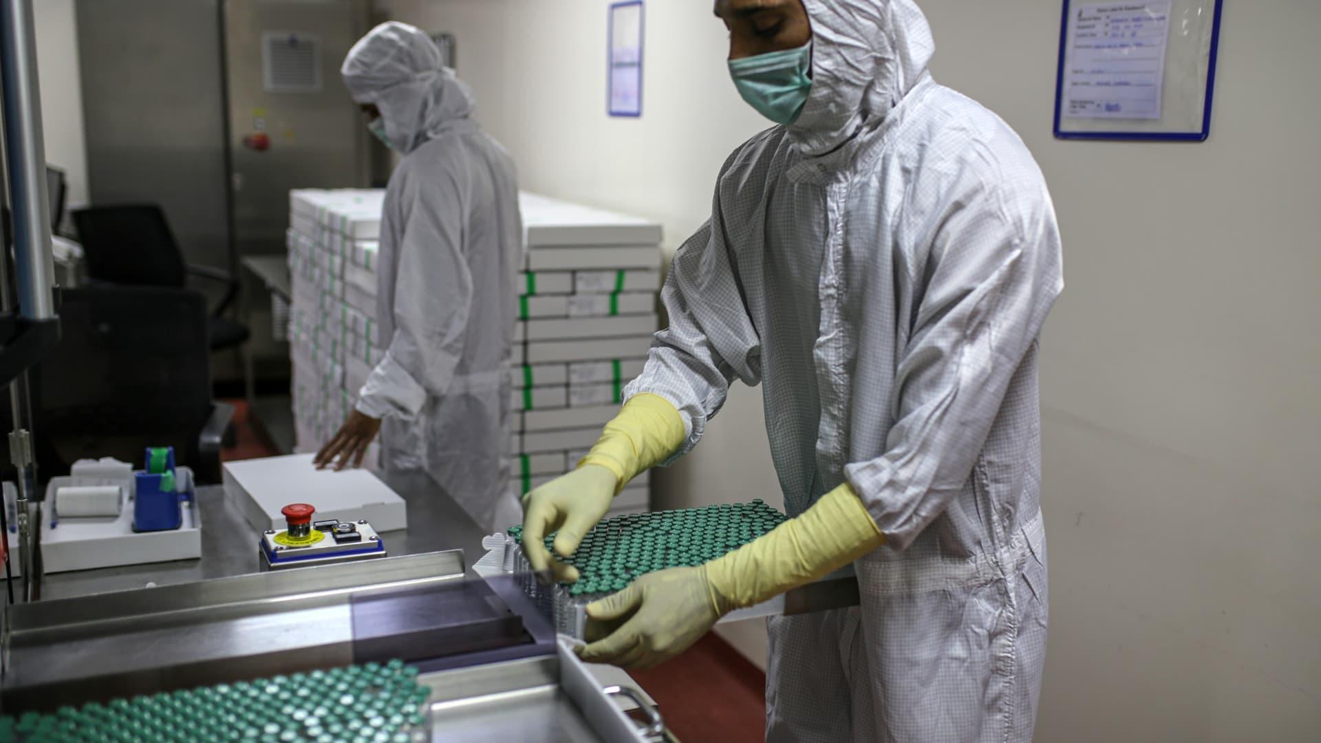 An AstraZeneca vaccine production line.