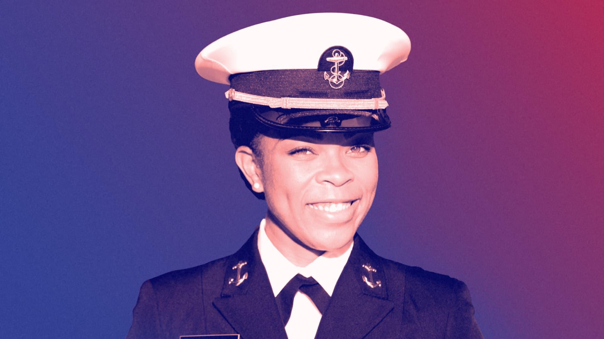 Midshipman Sydney Barber, U.S. Naval Academy's first Black female brigade commander.