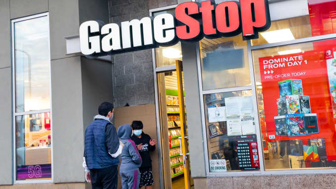 A GameStop store in Hollywood, California, busy with customers waiting in line to enter the video game retailer on January 27, 2021.