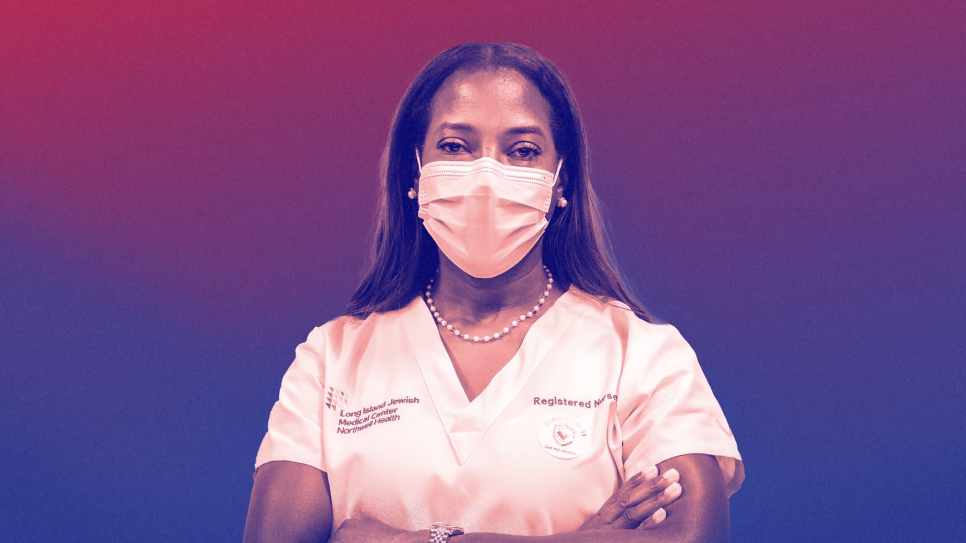 Sandra Lindsay, critical care nurse at Long Island Jewish Medical Center in New York.