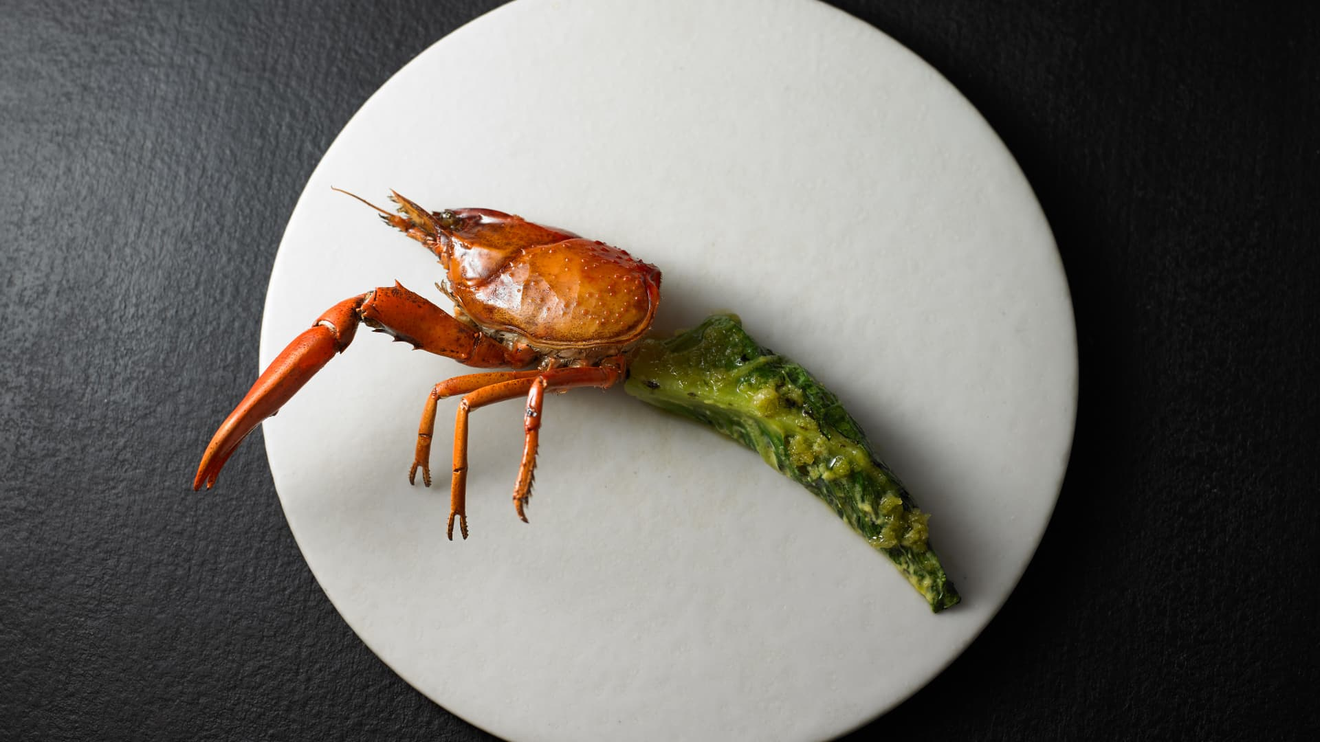 Attica's grilled marron, a crayfish found in Western Australia, with desert lime.