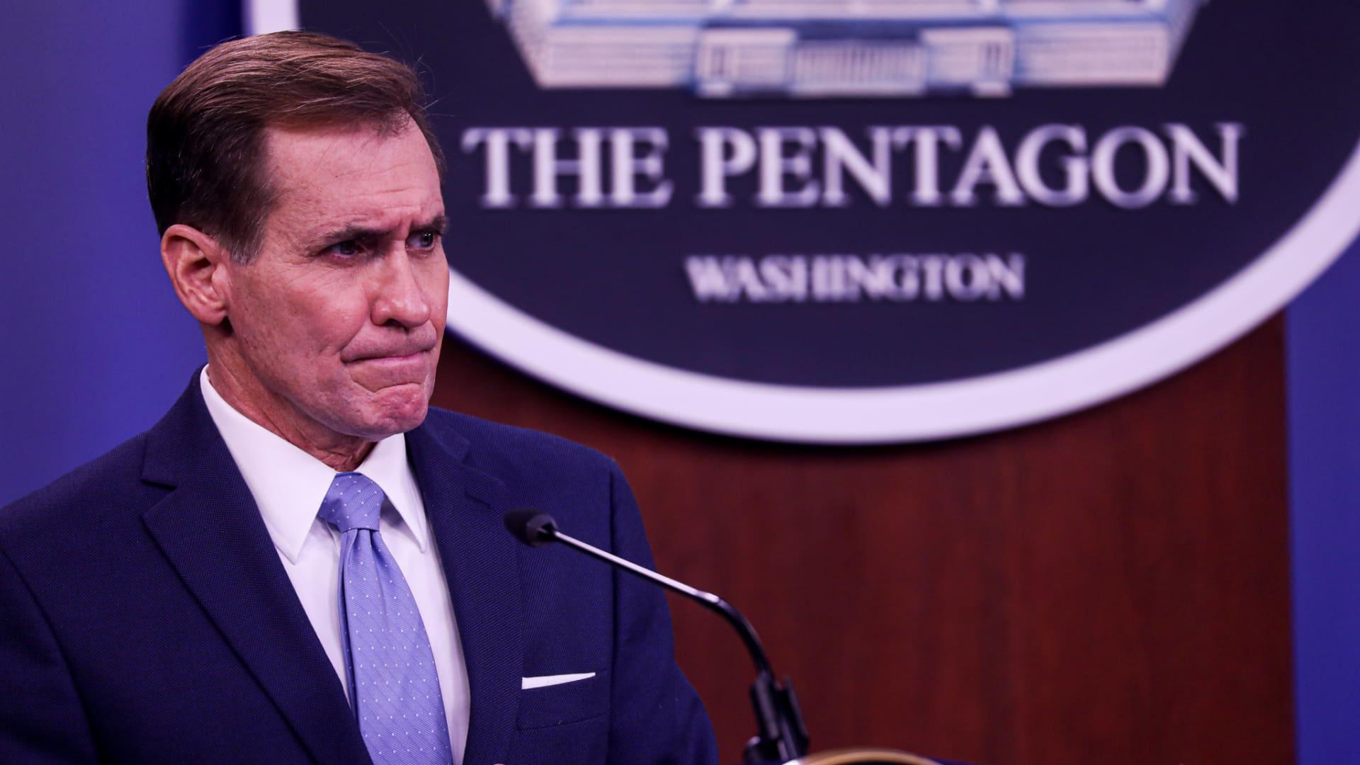 Pentagon Press Secretary John Kirby speaks at press conference at the Pentagon January 28, 2021 in Arlington,Virginia.