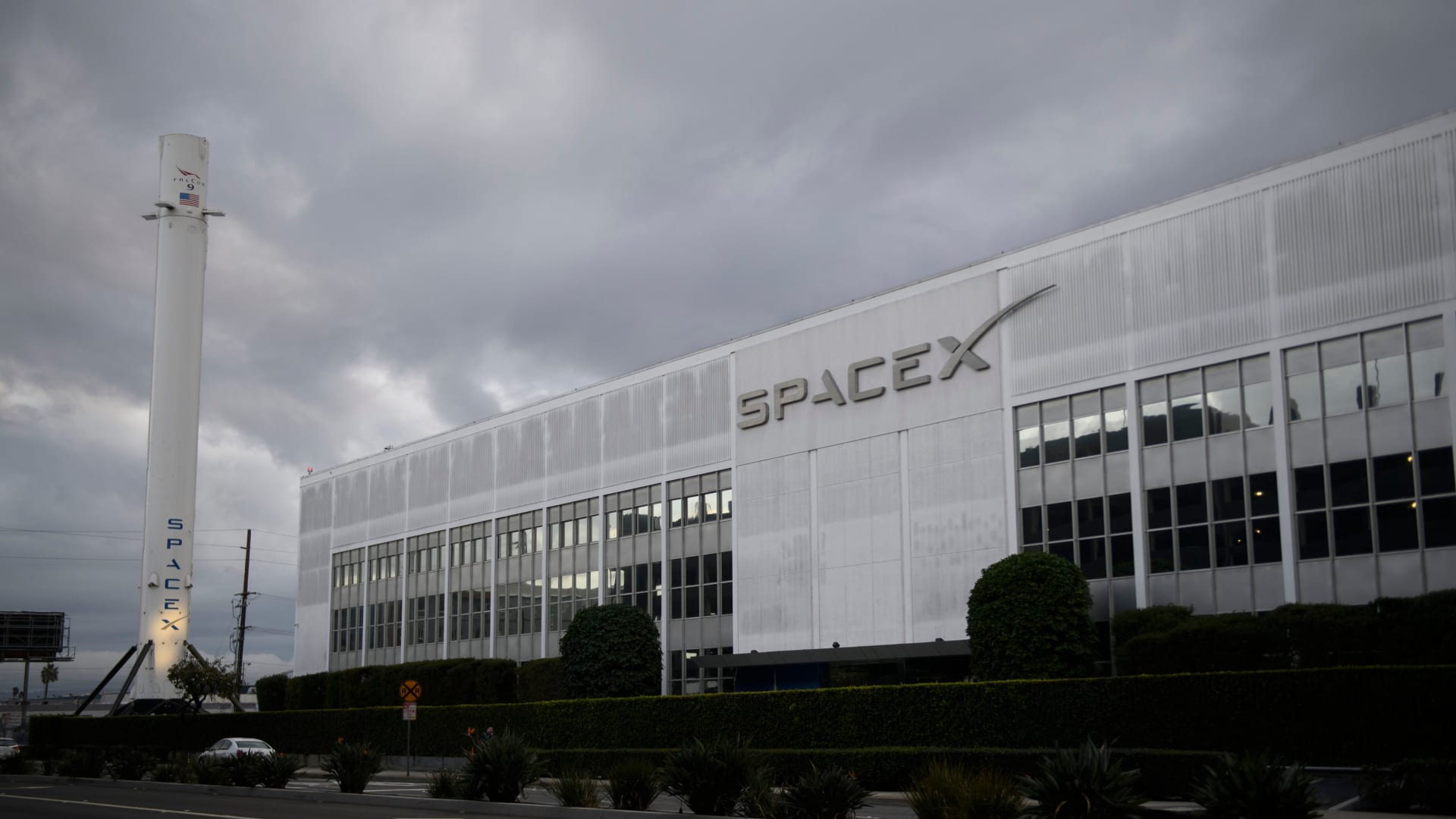 A Falcon 9 rocket is displayed outside the Space Exploration Technologies Corp. (SpaceX) headquarters on January 28, 2021 in Hawthorne, California.