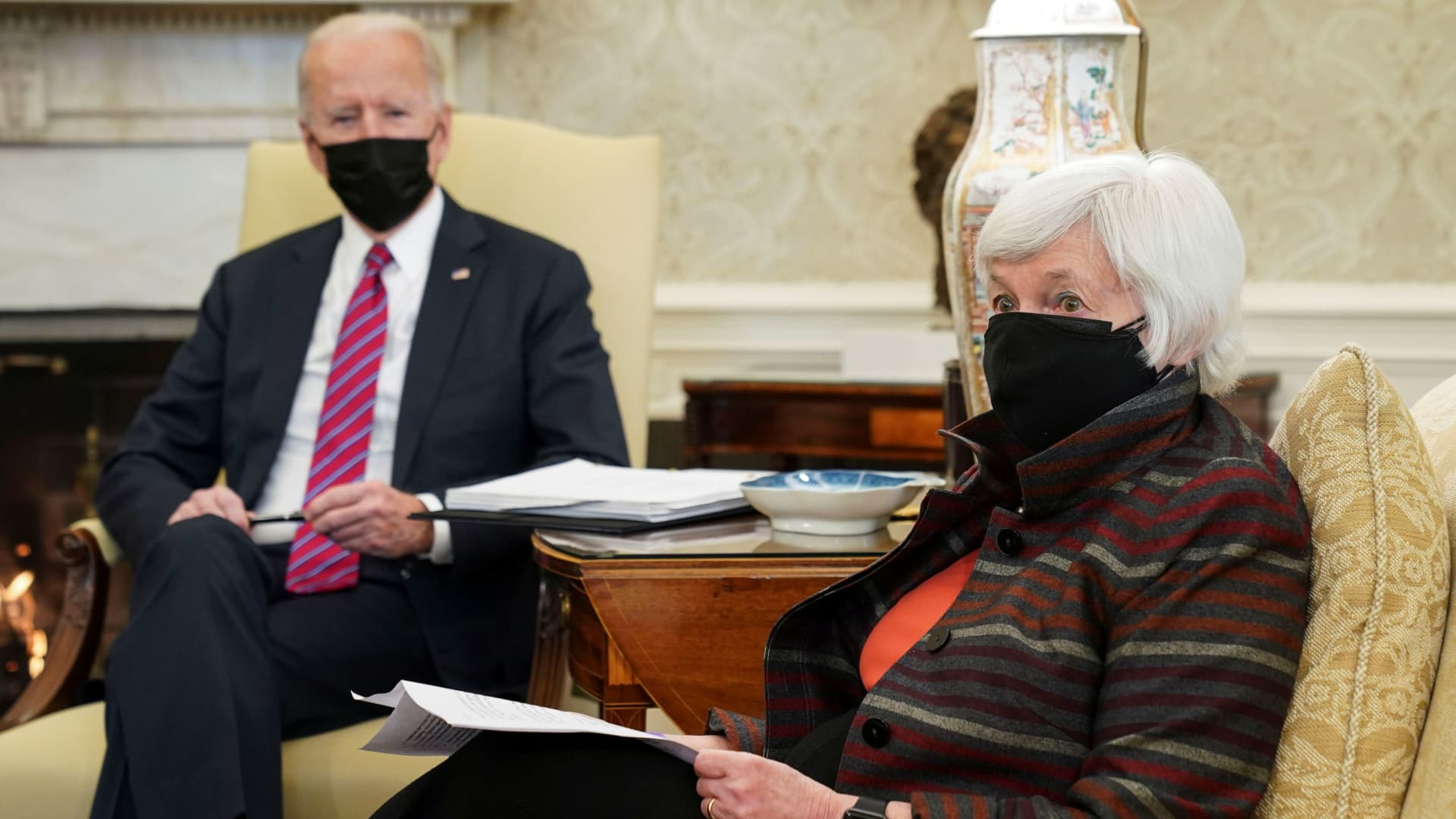 U.S. President Joe Biden receives an economic briefing with Treasury Secretary Janet Yellen in the Oval Office at the White House in Washington, January 29, 2021.