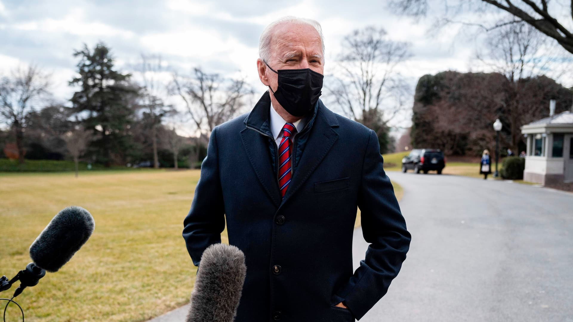 President Joe Biden speaks to the press as he departs the White House in Washington, DC, on January 29, 2021. - Biden travels to Walter Reed National Military Medical Center in Bethesda, Maryland.