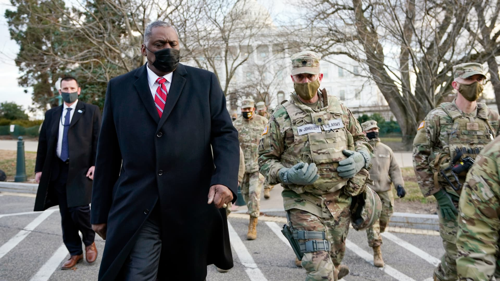 Secretary of Defense Lloyd Austin visits National Guard troops deployed at the U.S. Capitol and its perimeter on January 29, 2021 on Capitol Hill in Washington, DC.