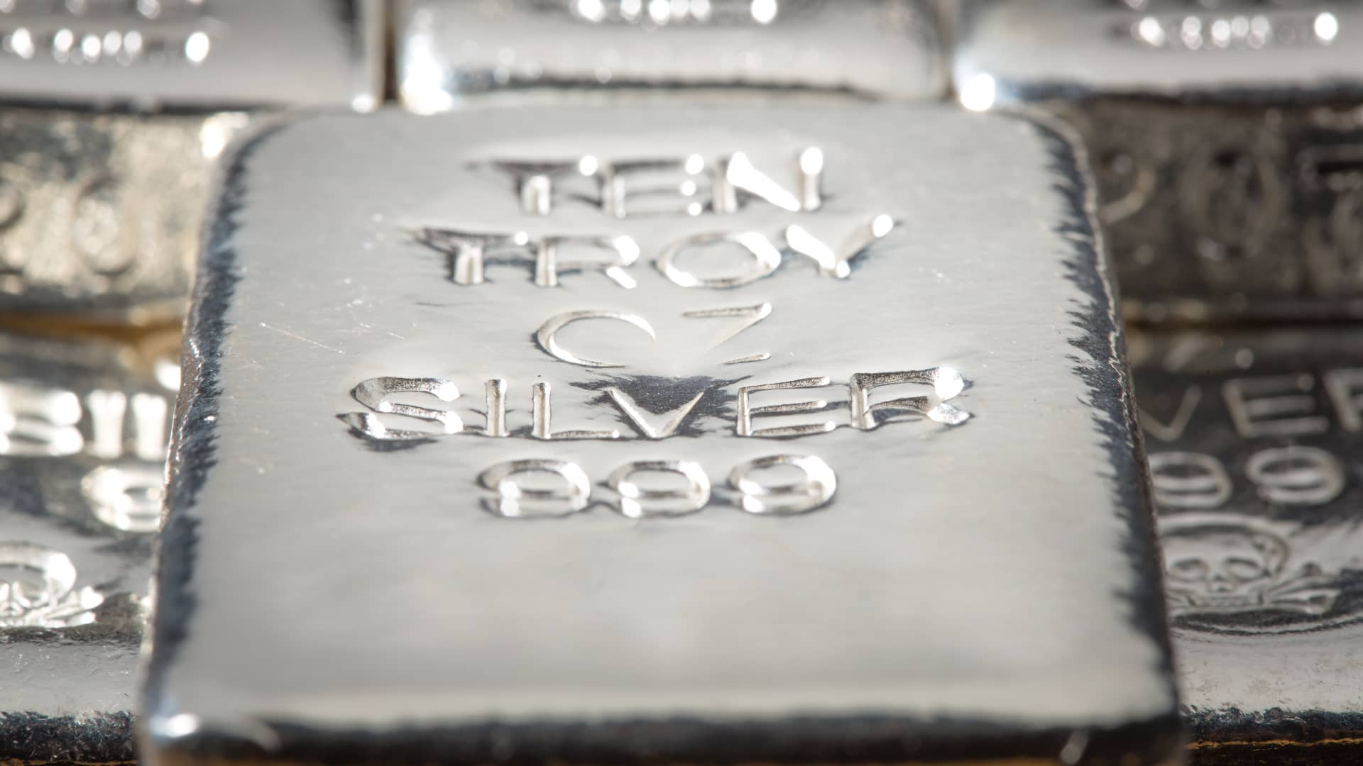 A Stack of Silver Bullion Bars & Ingots