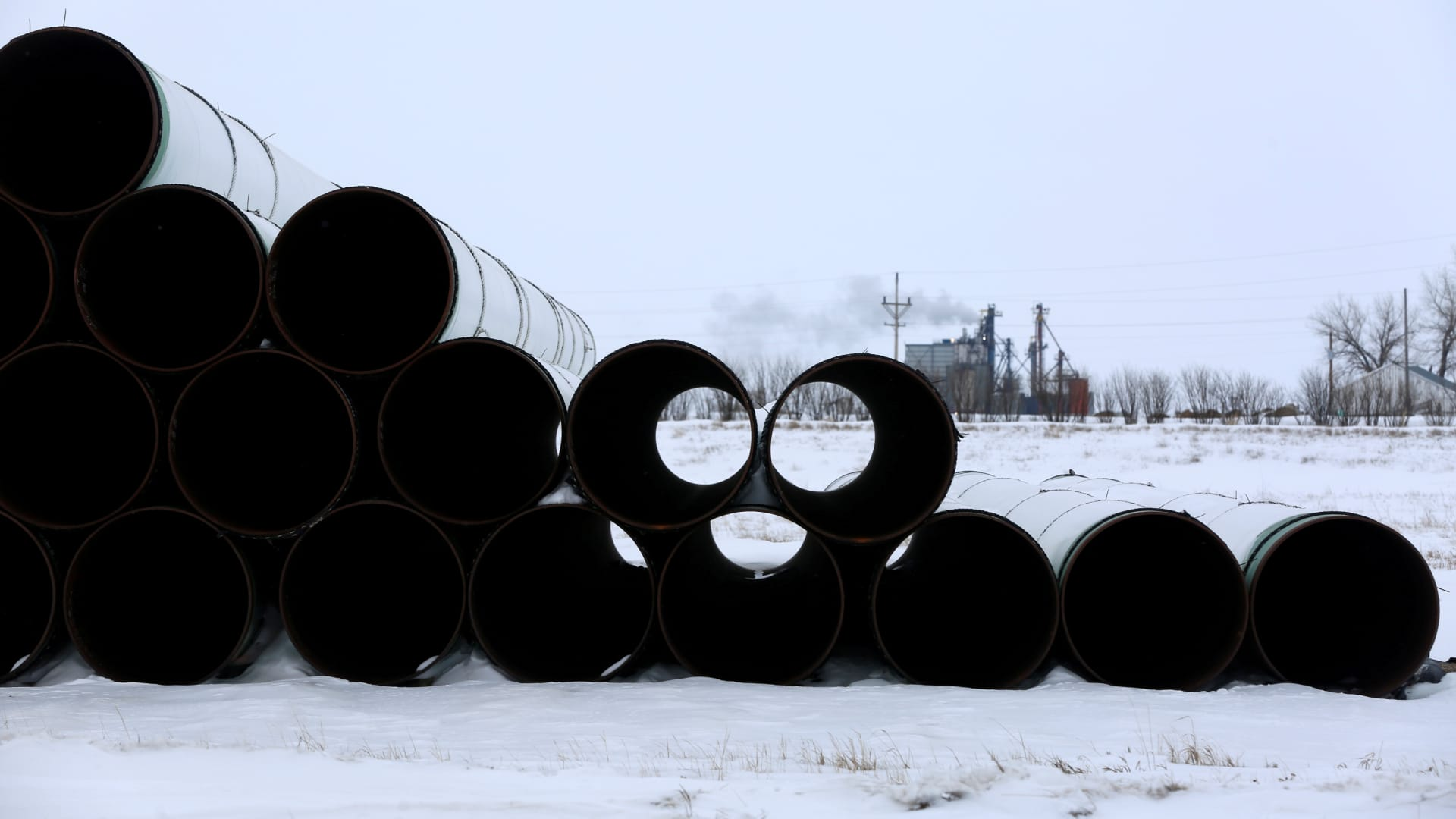 A depot used to store pipes for Transcanada Corp's planned Keystone XL oil pipeline is seen in Gascoyne, North Dakota, January 25, 2017.