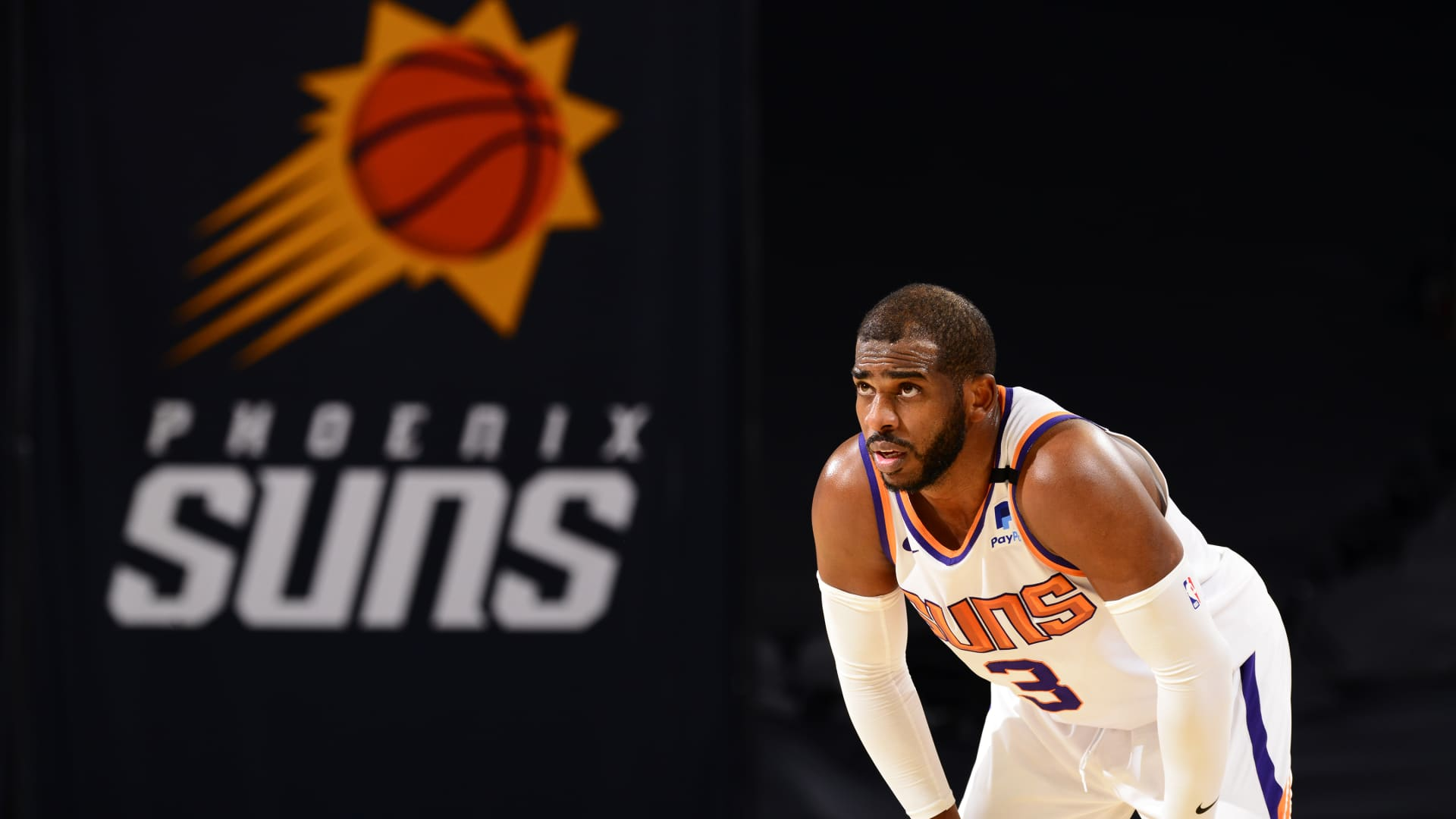 Chris Paul #3 of the Phoenix Suns looks on during the game against the Oklahoma City Thunder on January 27, 2021 at Talking Stick Resort Arena in Phoenix, Arizona.