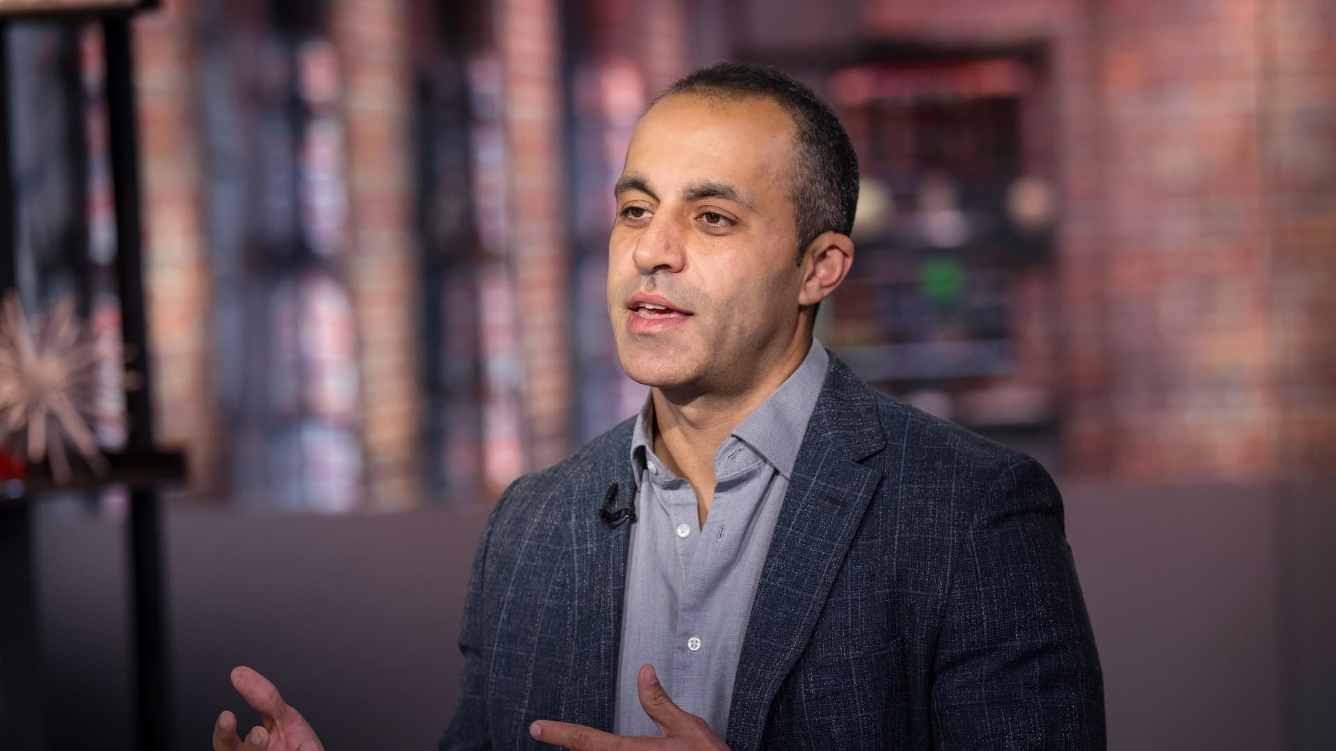 Ali Ghodsi, co-founder and chief executive officer of Databricks Inc., speaks during a Bloomberg Technology television interview in San Francisco, California, U.S., on Tuesday, Oct. 22, 2019.